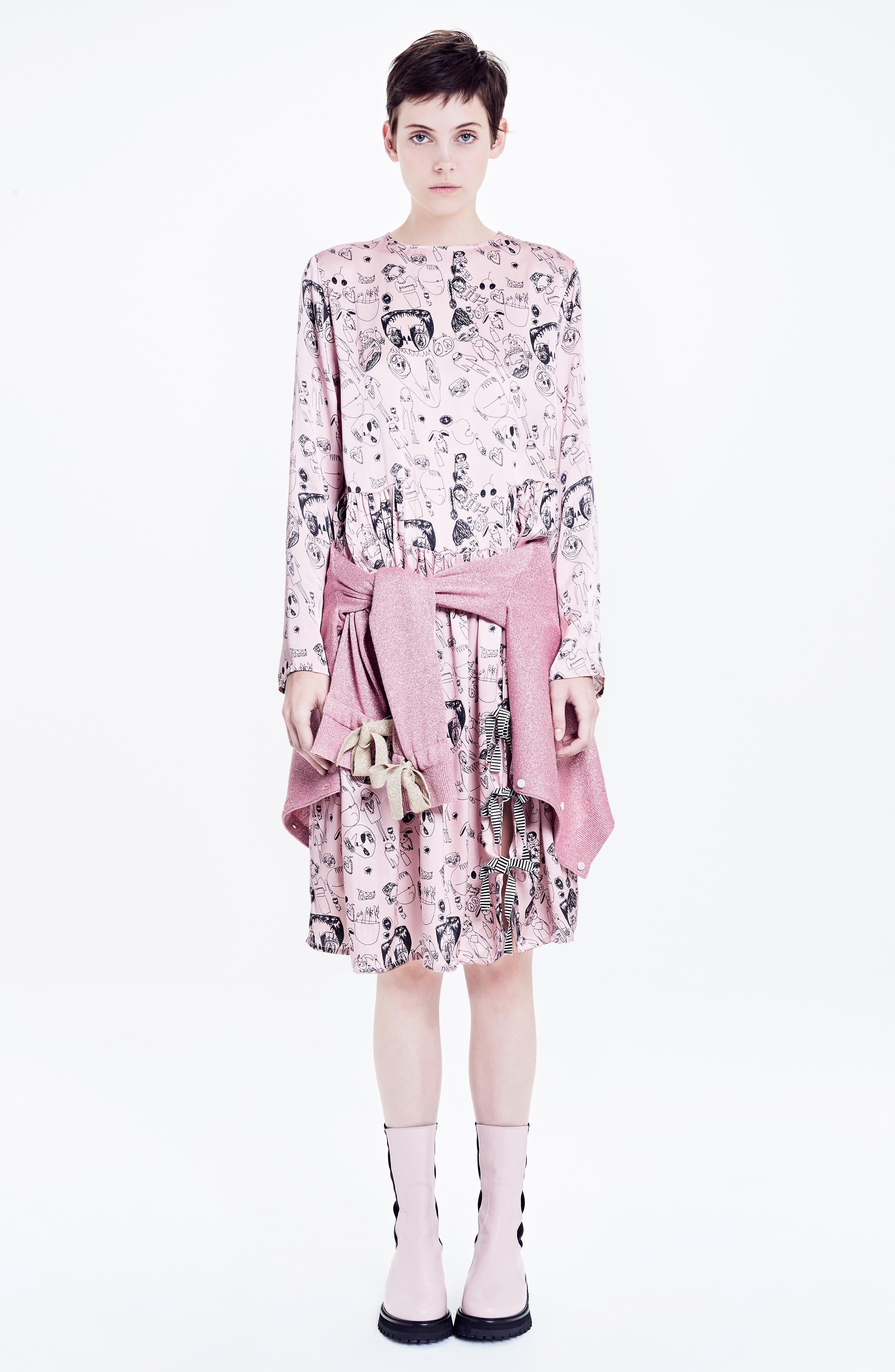 Heather Print Silk Dress,                             Alternate thumbnail 9, color,                             Rosette / Black