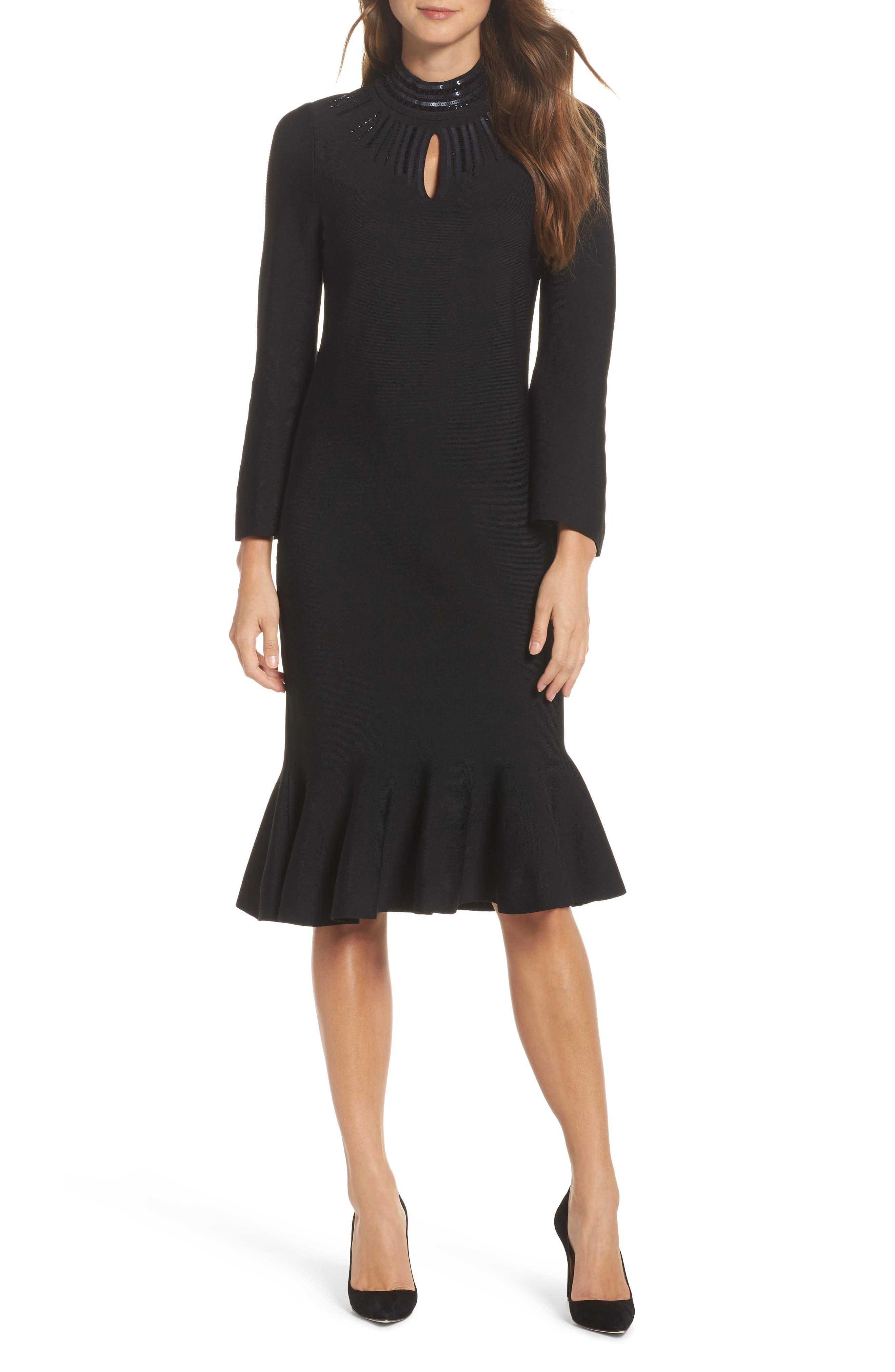 Sequin Midi Dress,                             Main thumbnail 1, color,                             Black Onyx