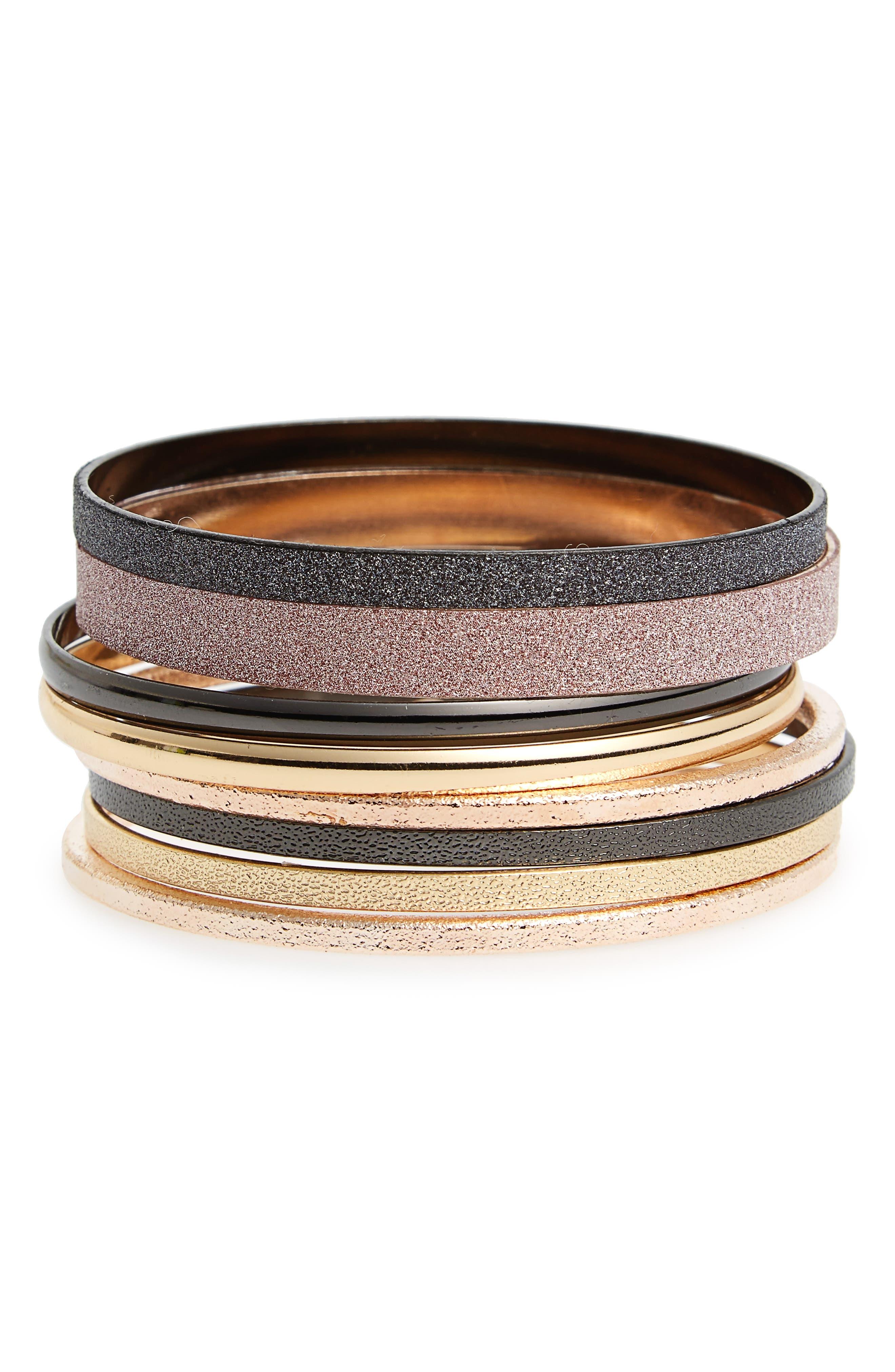 Topshop Set of 8 Glitter Bangle Bracelets