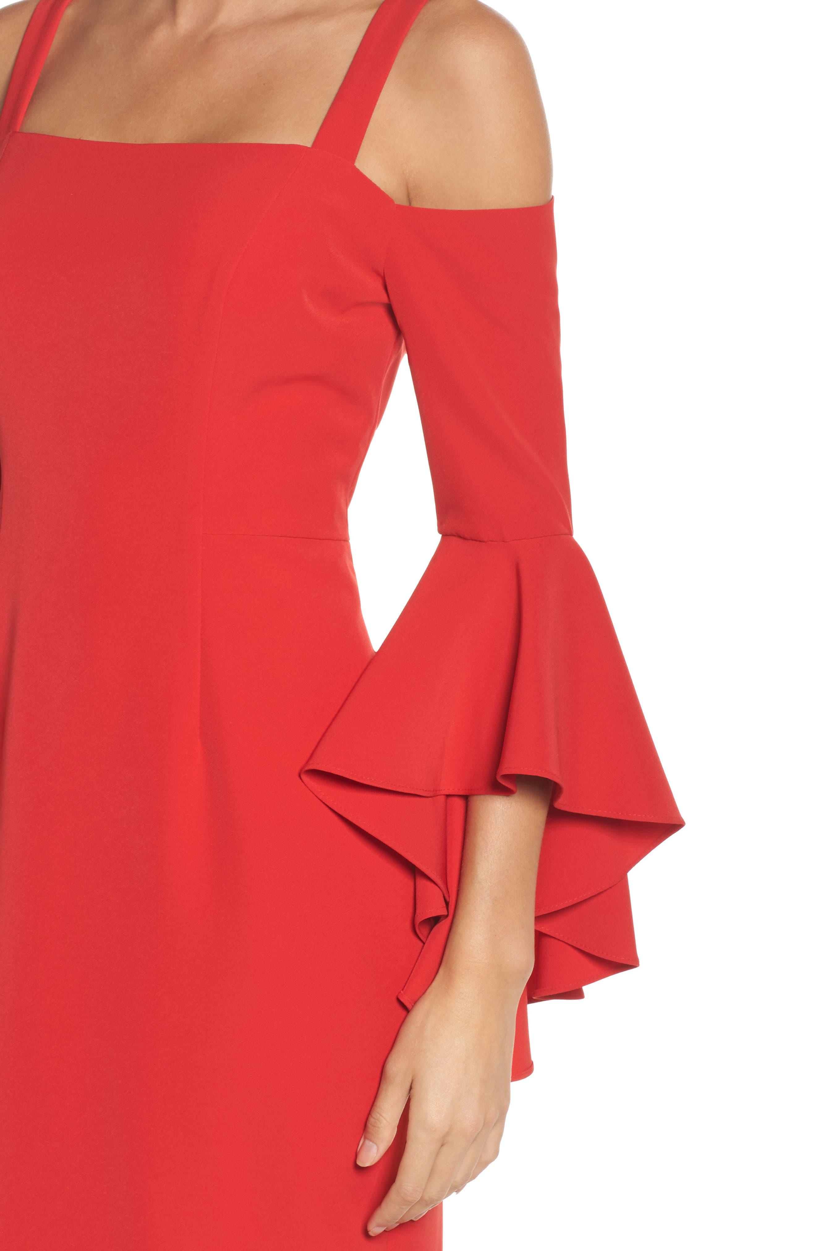 Alternate Image 4  - Maggy London Cold Shoulder Crepe Sheath Dress