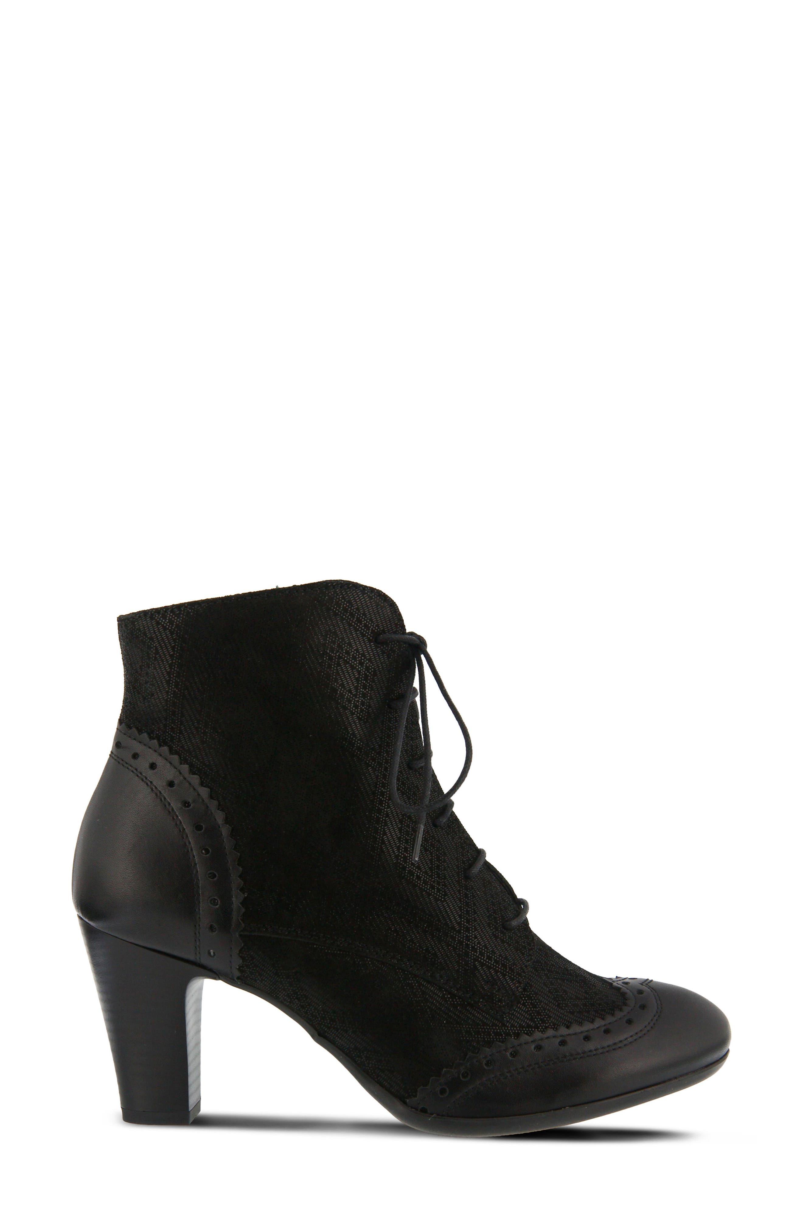 Gem Lace-Up Bootie,                             Alternate thumbnail 3, color,                             Black Leather