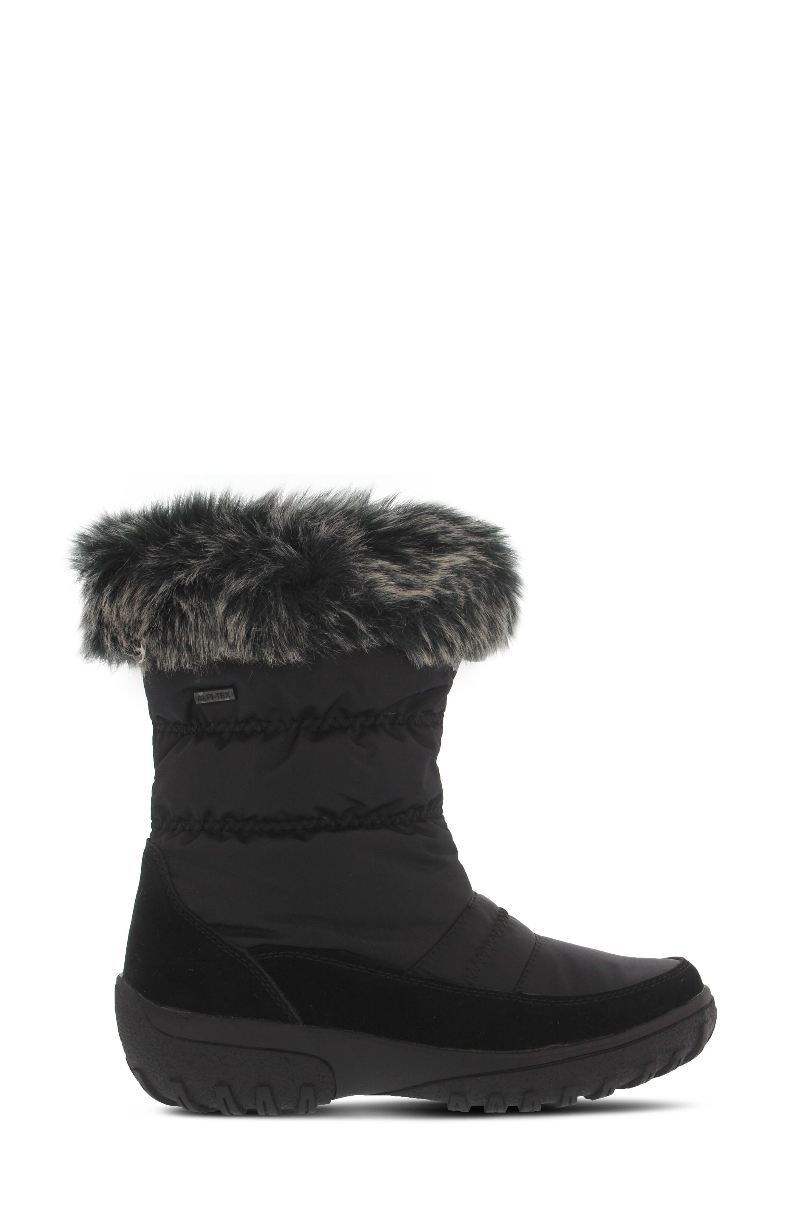 Rolim Faux Fur Trim Waterproof Boot,                             Alternate thumbnail 3, color,                             Black