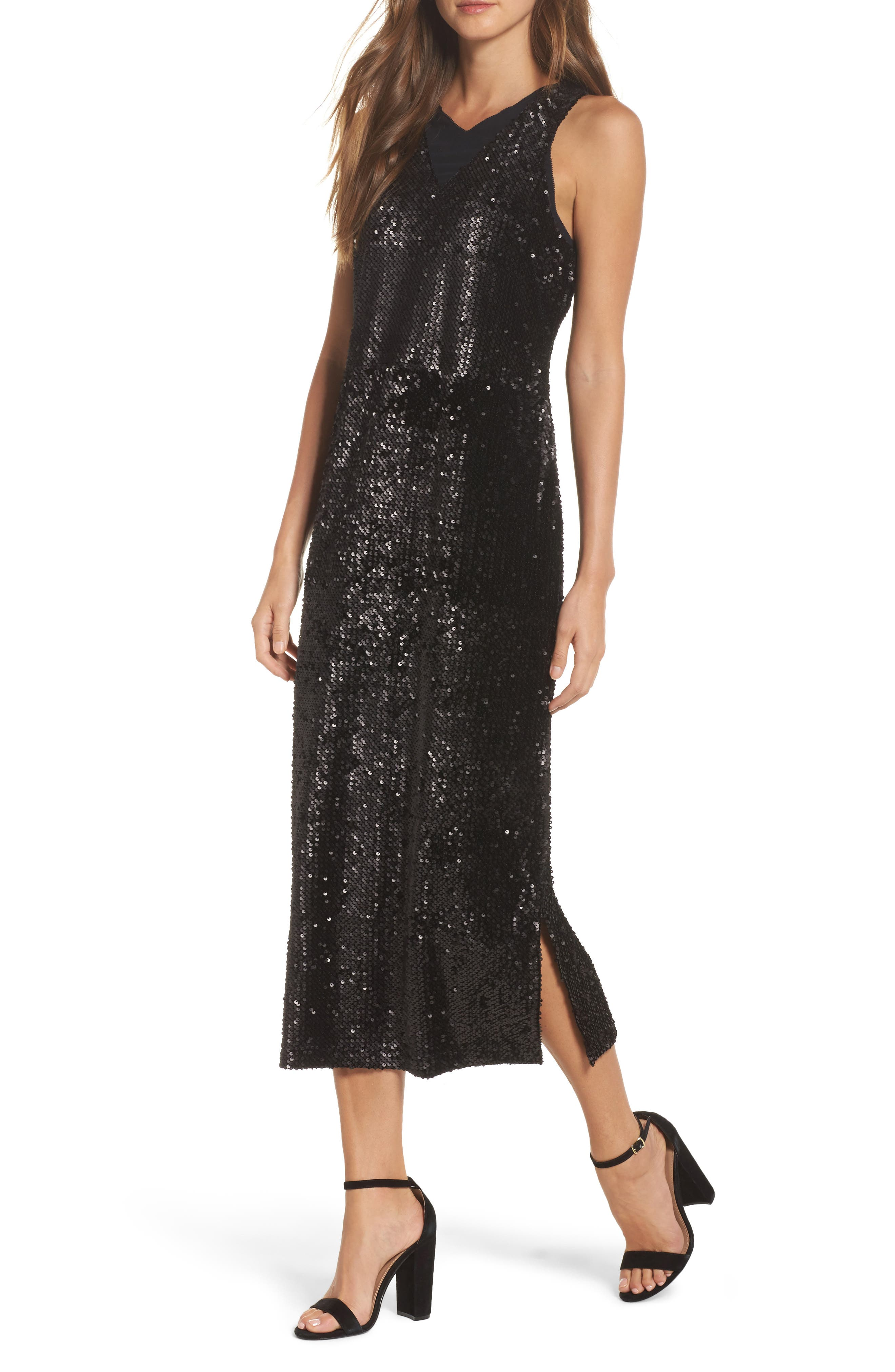 Night Shimmer Sequin Midi Dress,                         Main,                         color, Black Onyx