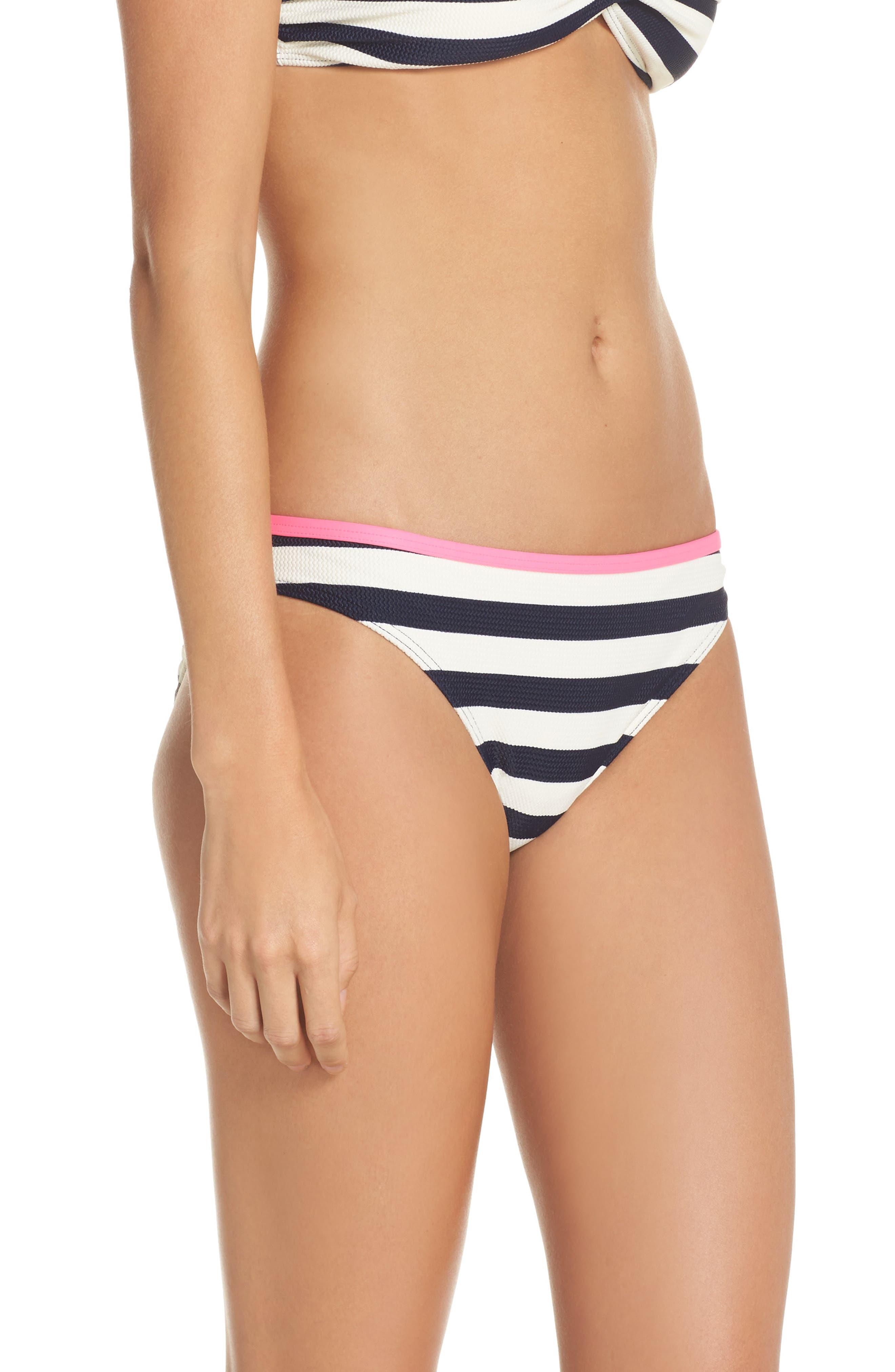 Textured Stripe Hipster Bikini Bottoms,                             Alternate thumbnail 3, color,                             Navy