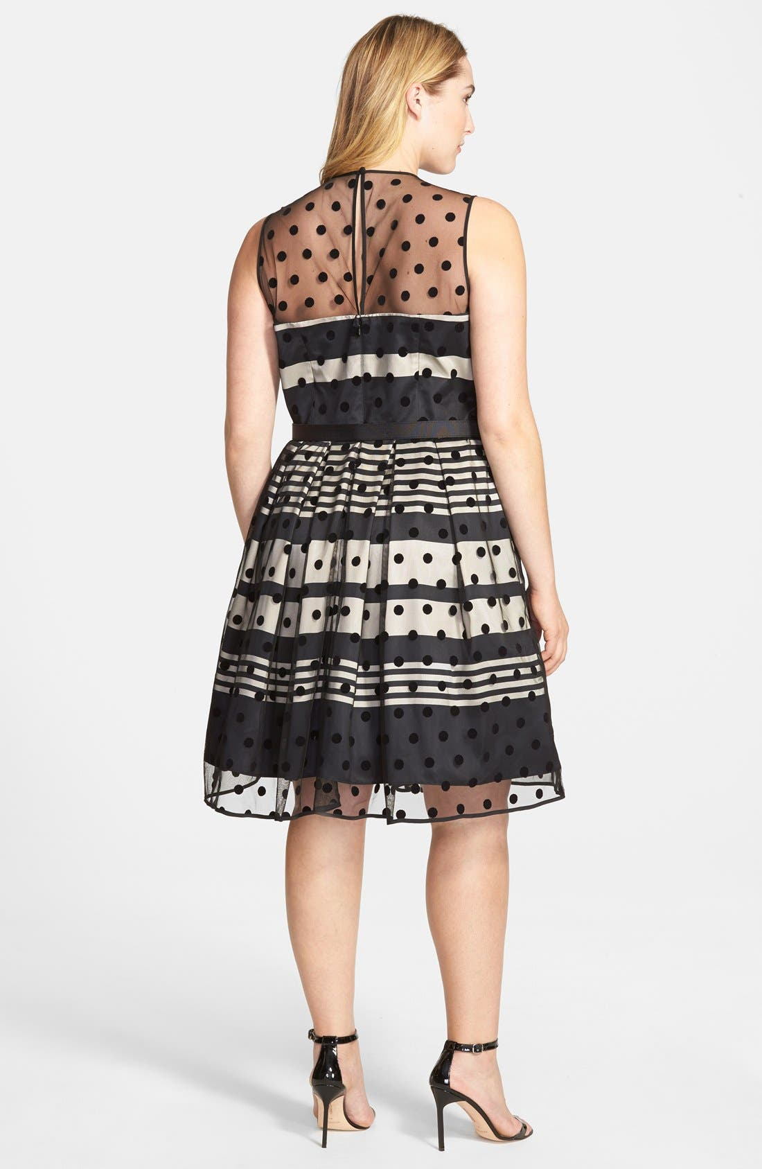 Alternate Image 2  - Eliza J Stripe Fit & Flare Dress with Dot Mesh Overlay (Plus Size)
