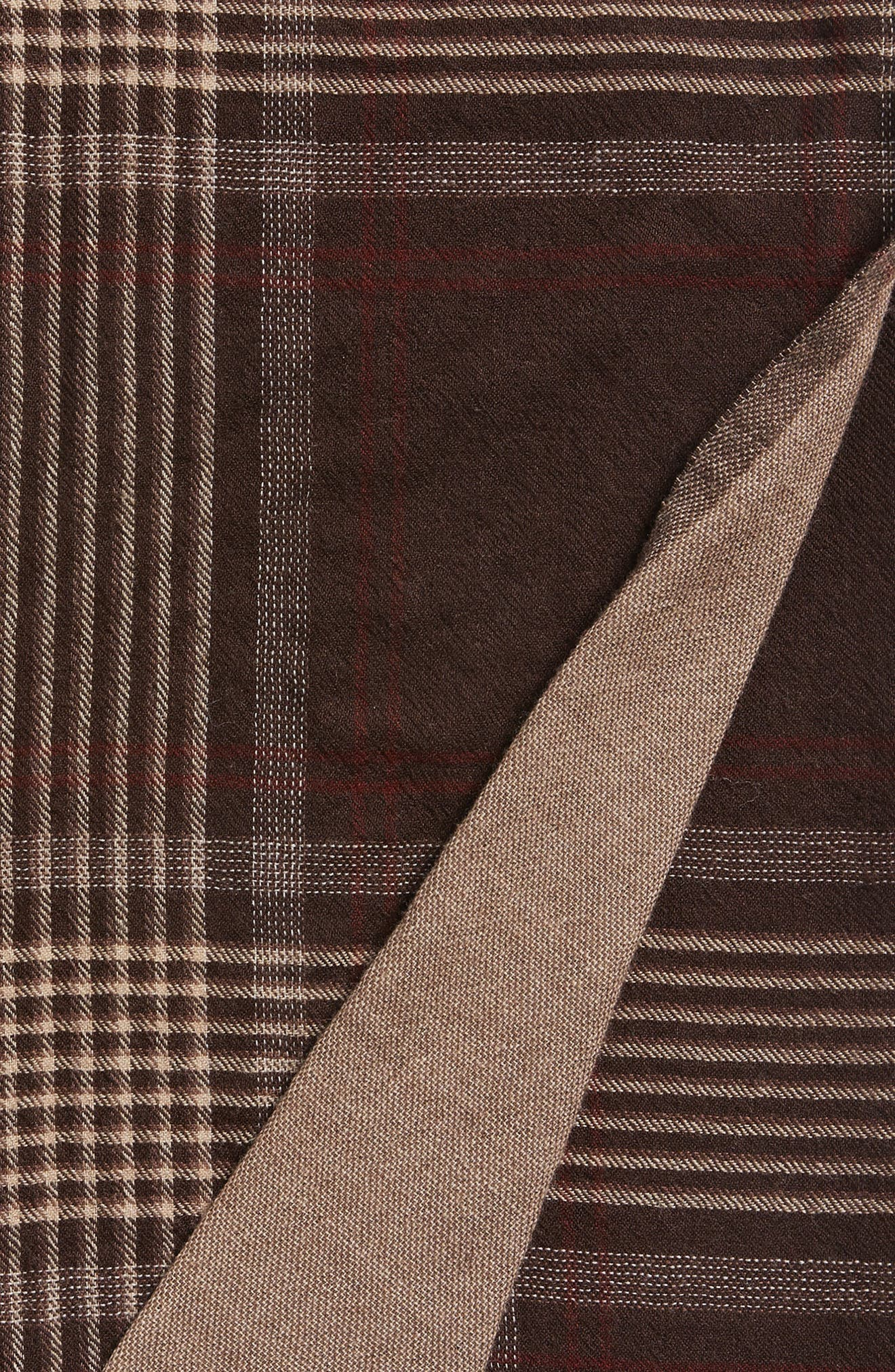 Plaid Double Face Merino Wool Throw,                             Alternate thumbnail 3, color,                             Brown Shadow Stripe Plaid