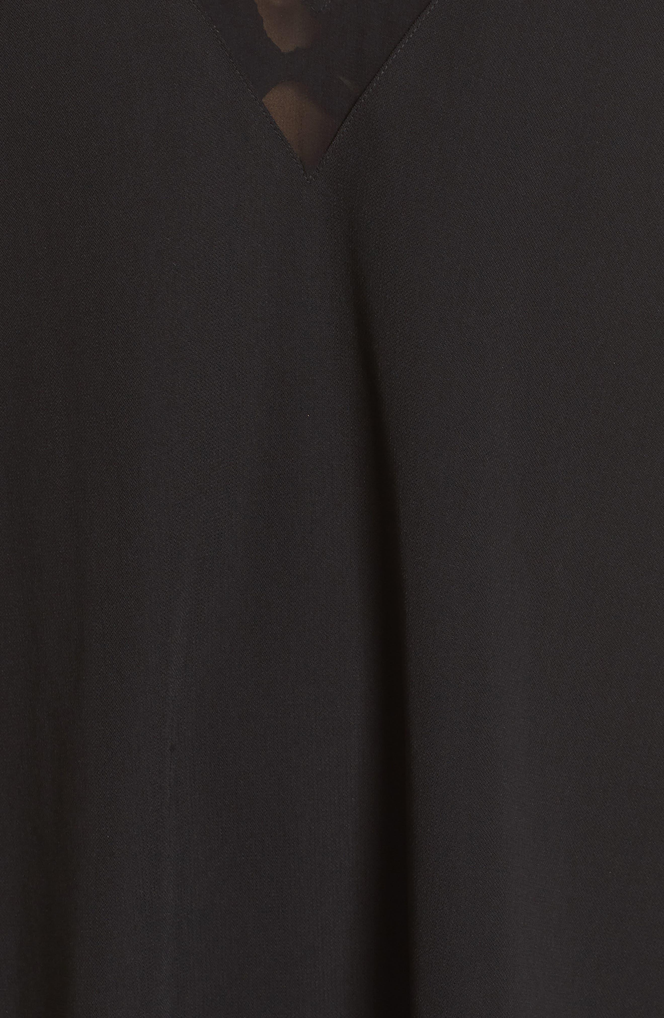 Mesh Panel Cover-Up Dress,                             Alternate thumbnail 5, color,                             Black