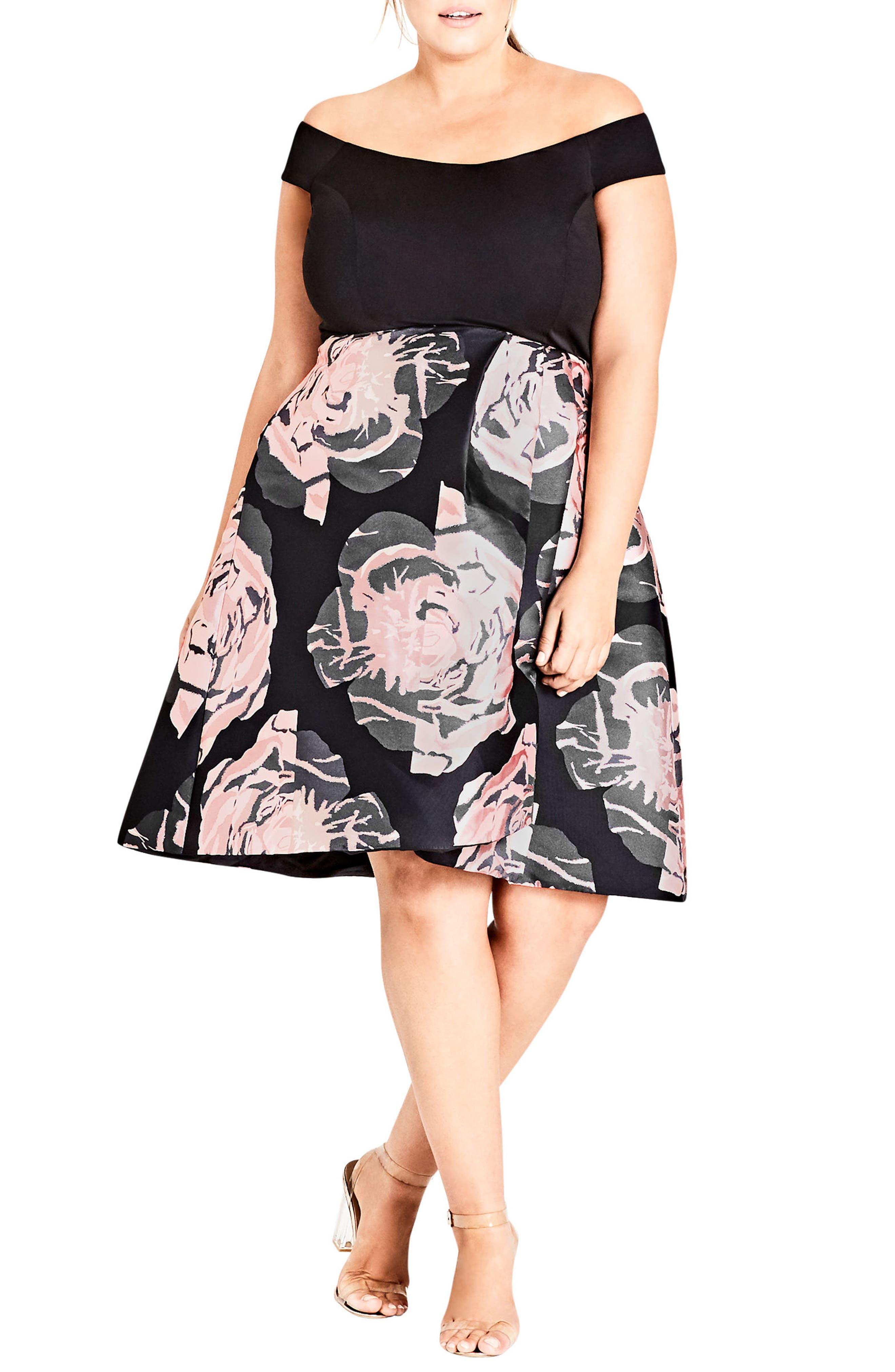 City Chic Flirt Jacqaurd Fit & Flare Dress (Plus Size)