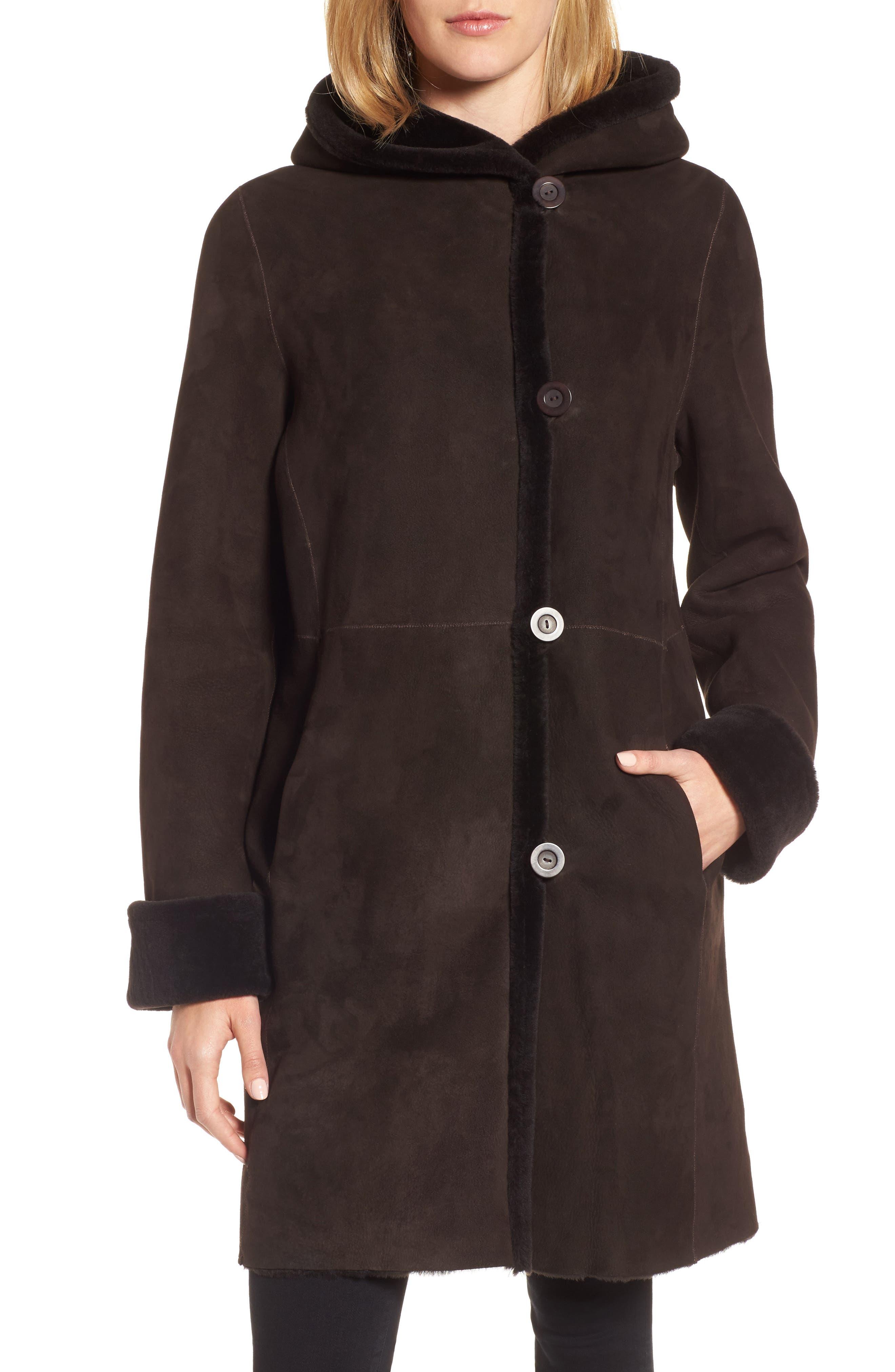 Hooded Genuine Shearling Coat,                         Main,                         color, Walnut