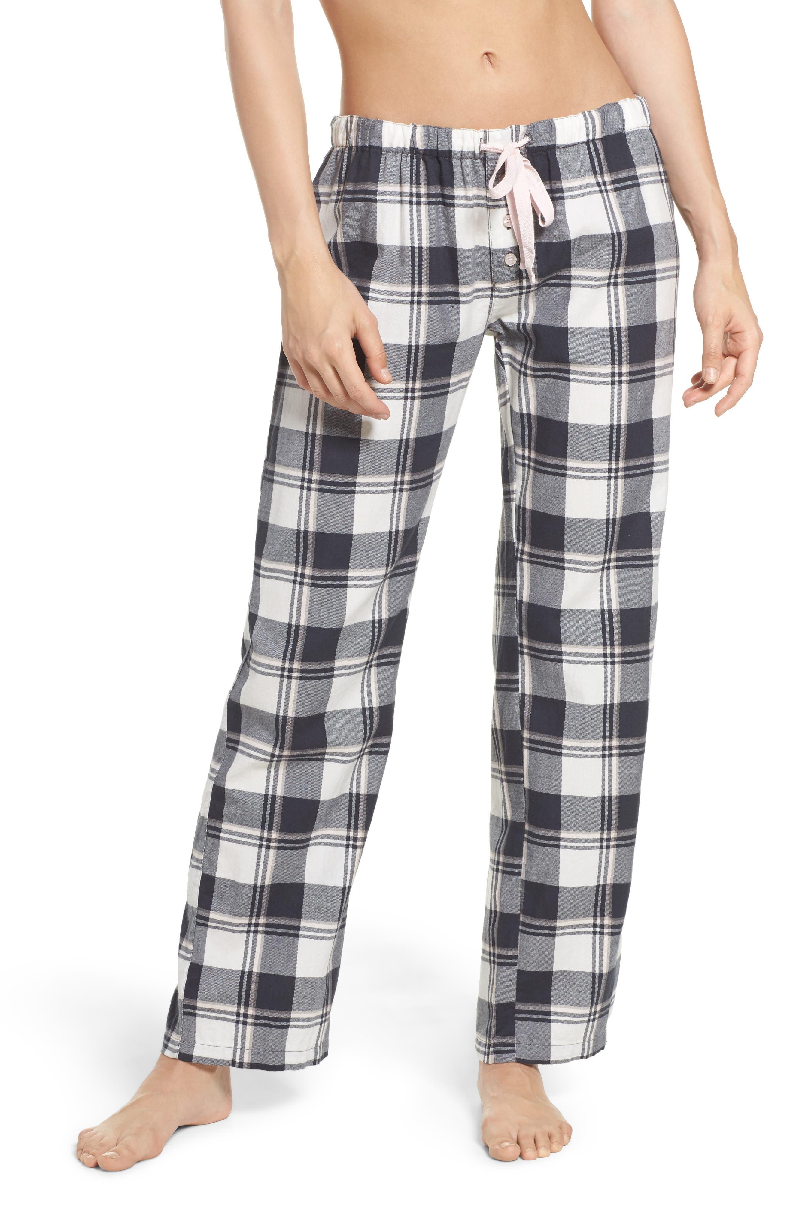 Plaid Pajama Pants,                         Main,                         color, Ivory