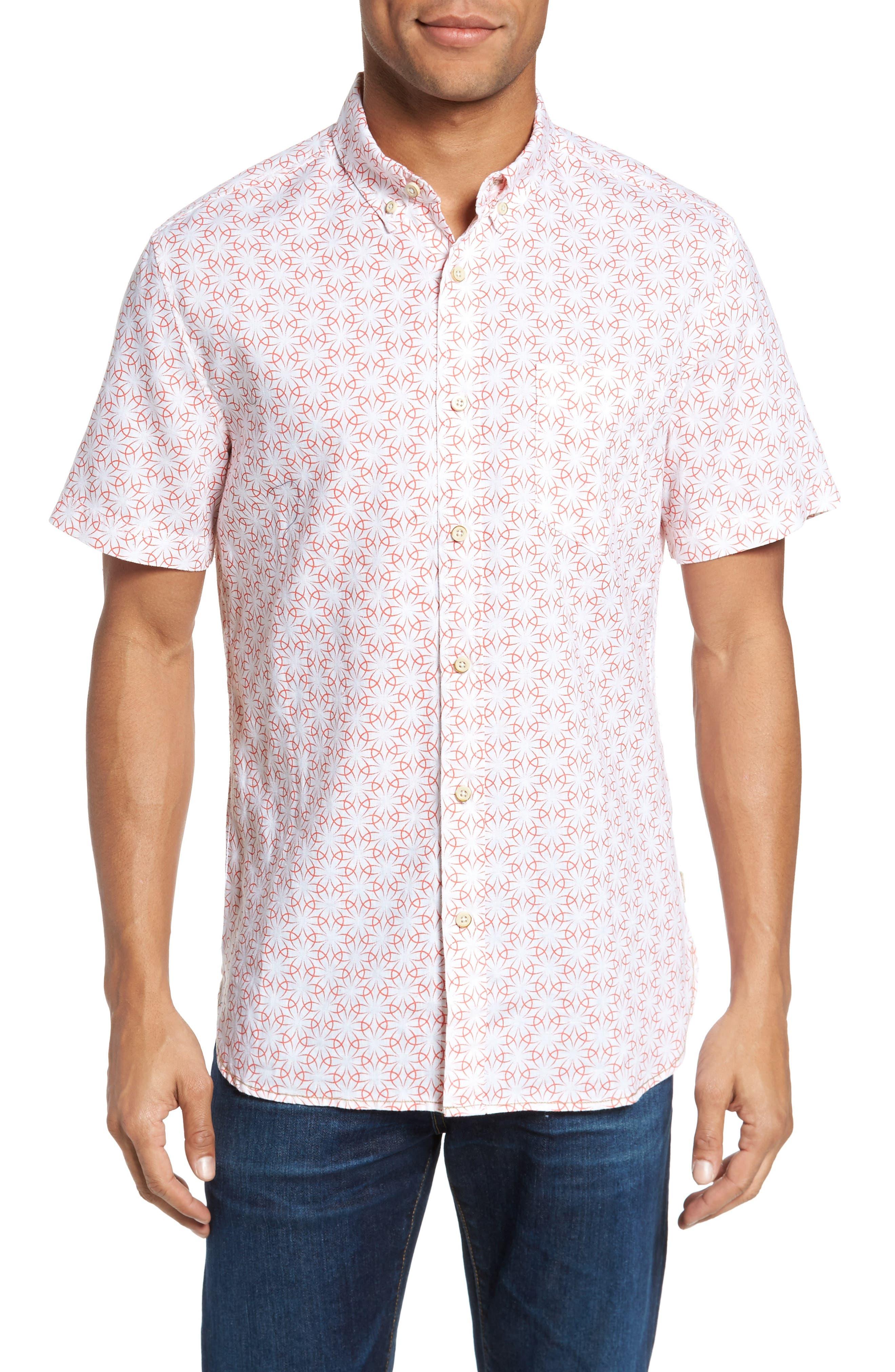 Gradient Flower Linen Sport Shirt,                             Main thumbnail 1, color,                             White/ Coral