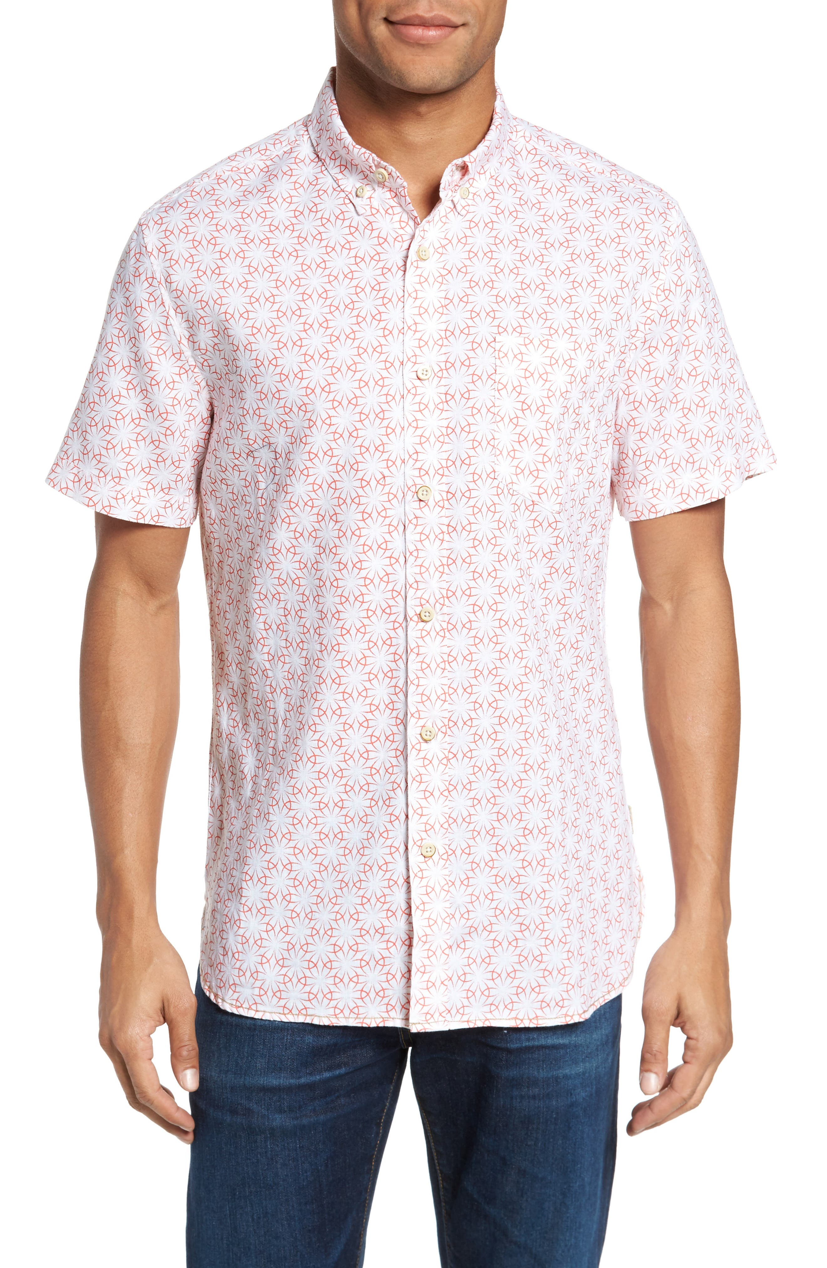 Gradient Flower Linen Sport Shirt,                         Main,                         color, White/ Coral