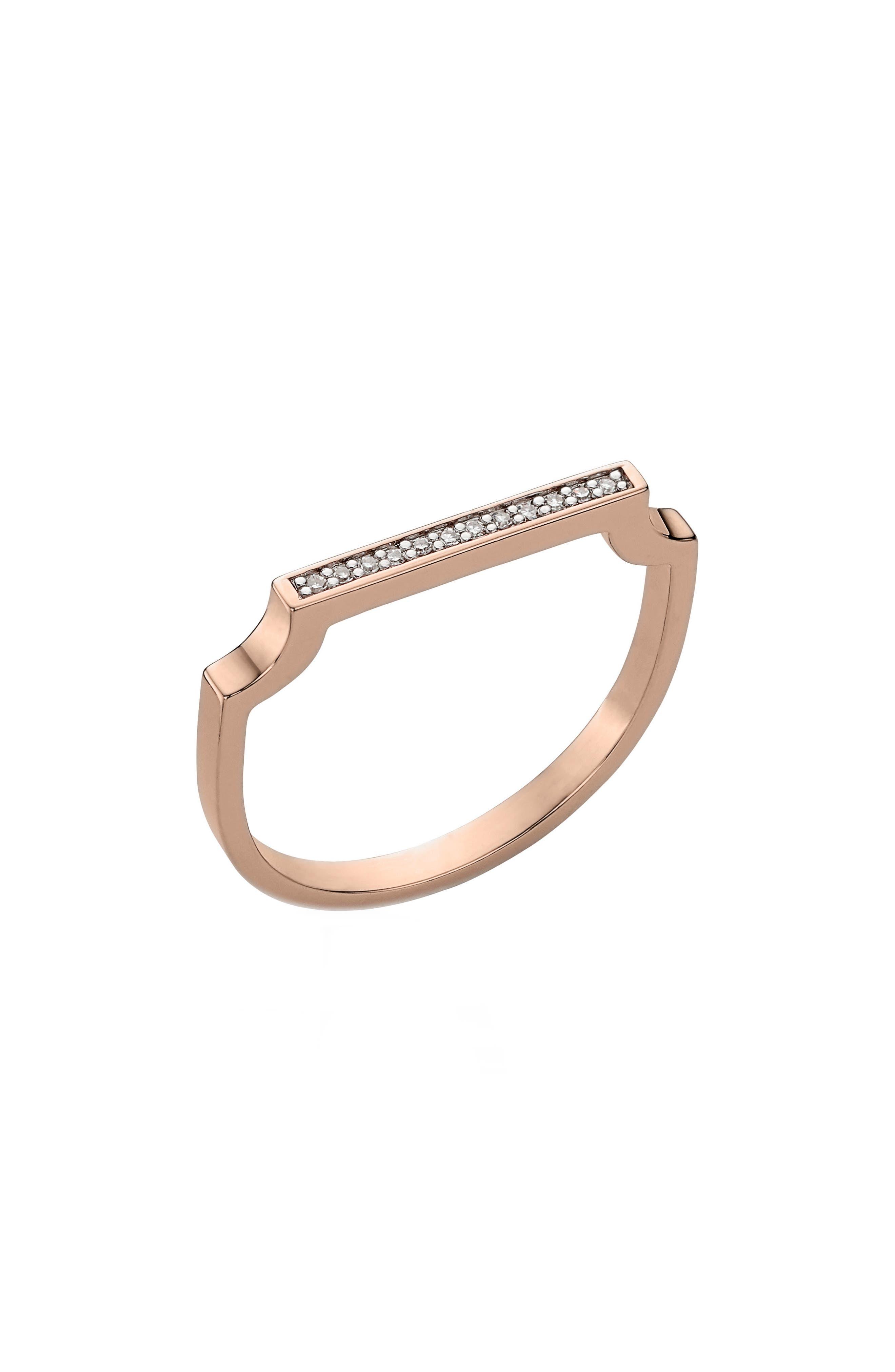 Signature Thin Diamond Ring,                         Main,                         color, Rose Gold/ Diamond