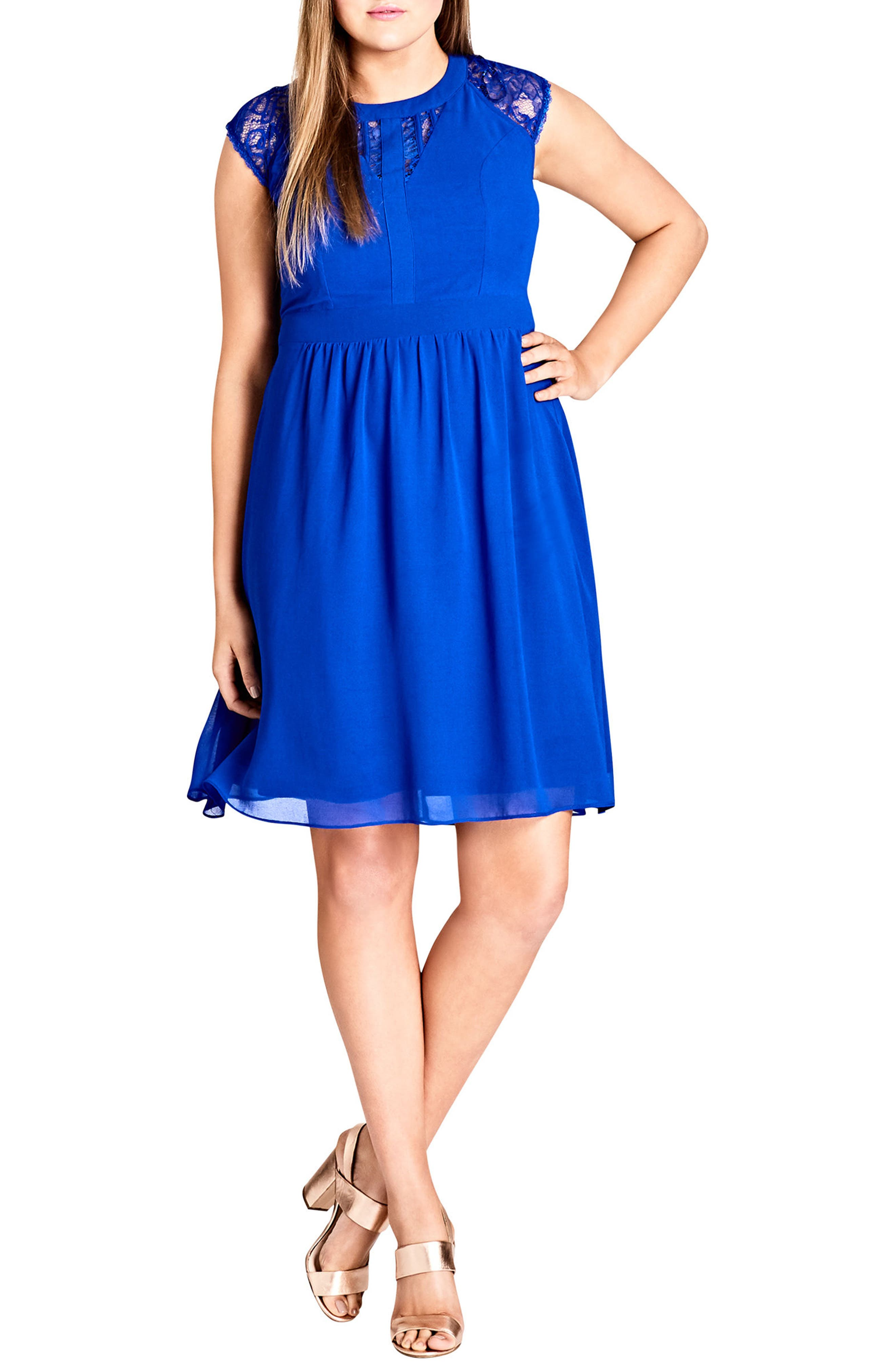 Lace Inset Fit & Flare Dress,                         Main,                         color, Ultra Blue