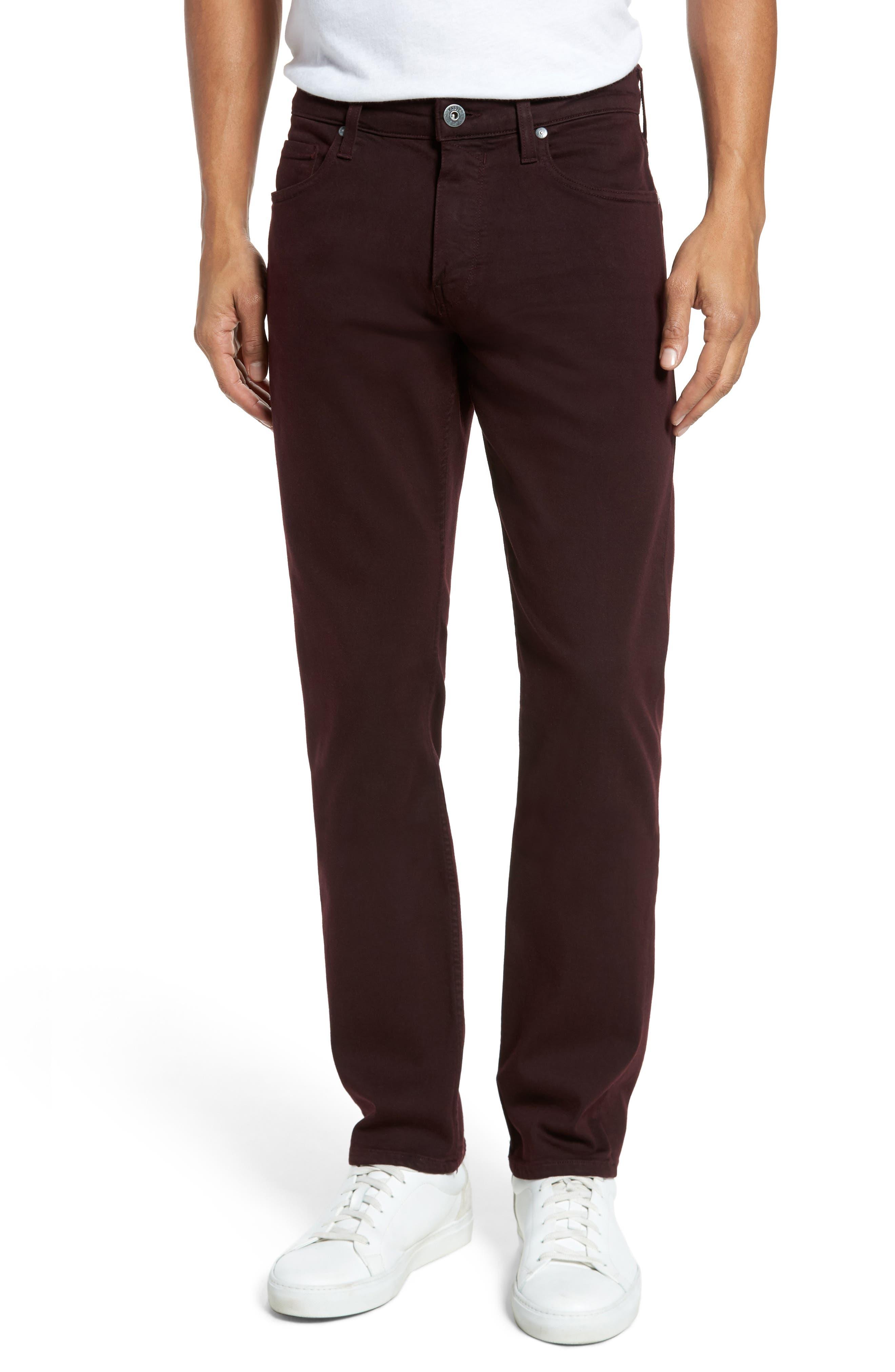 PAIGE Transcend - Federal Slim Straight Fit Jeans (Vintage Garnet)
