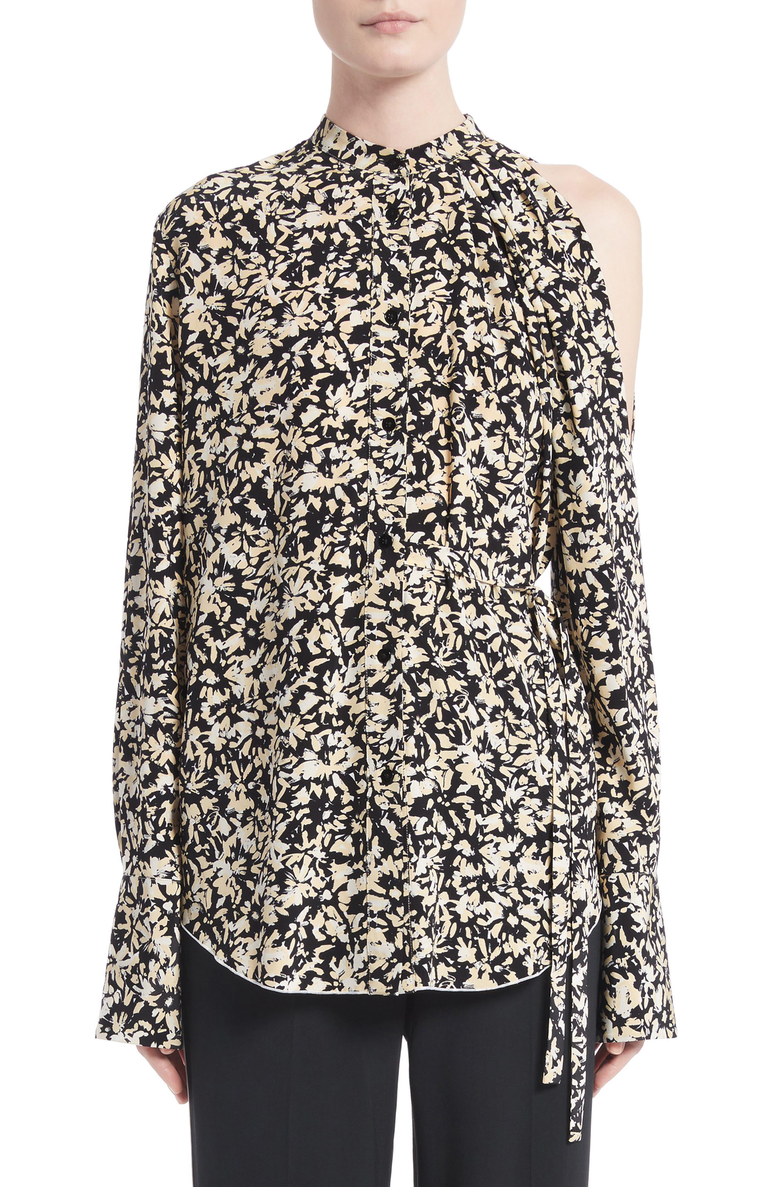 Print Silk Crepe Blouse,                         Main,                         color, Nude/ Black Painted Floral
