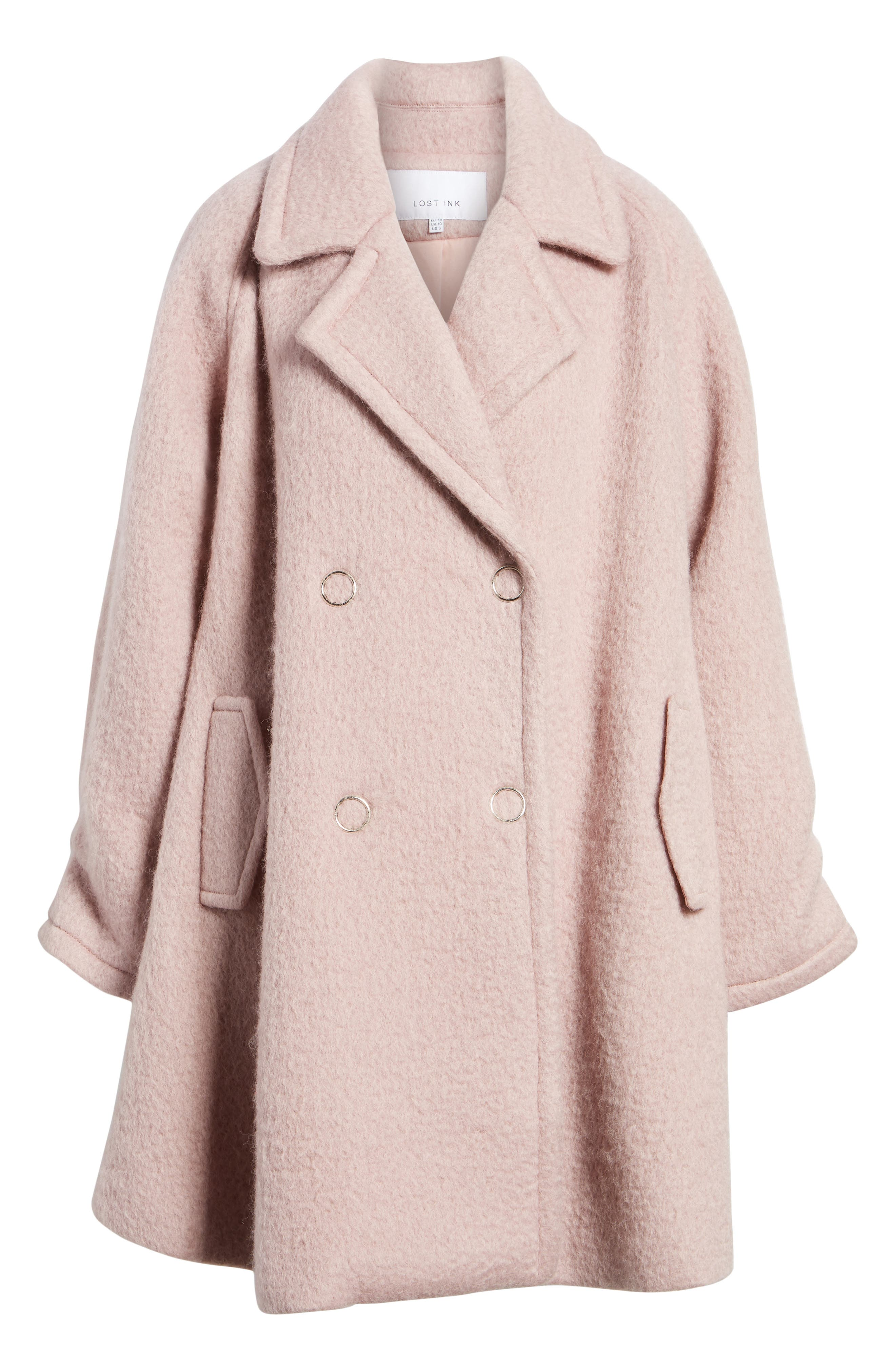 Swing Coat,                             Alternate thumbnail 6, color,                             Light Pink