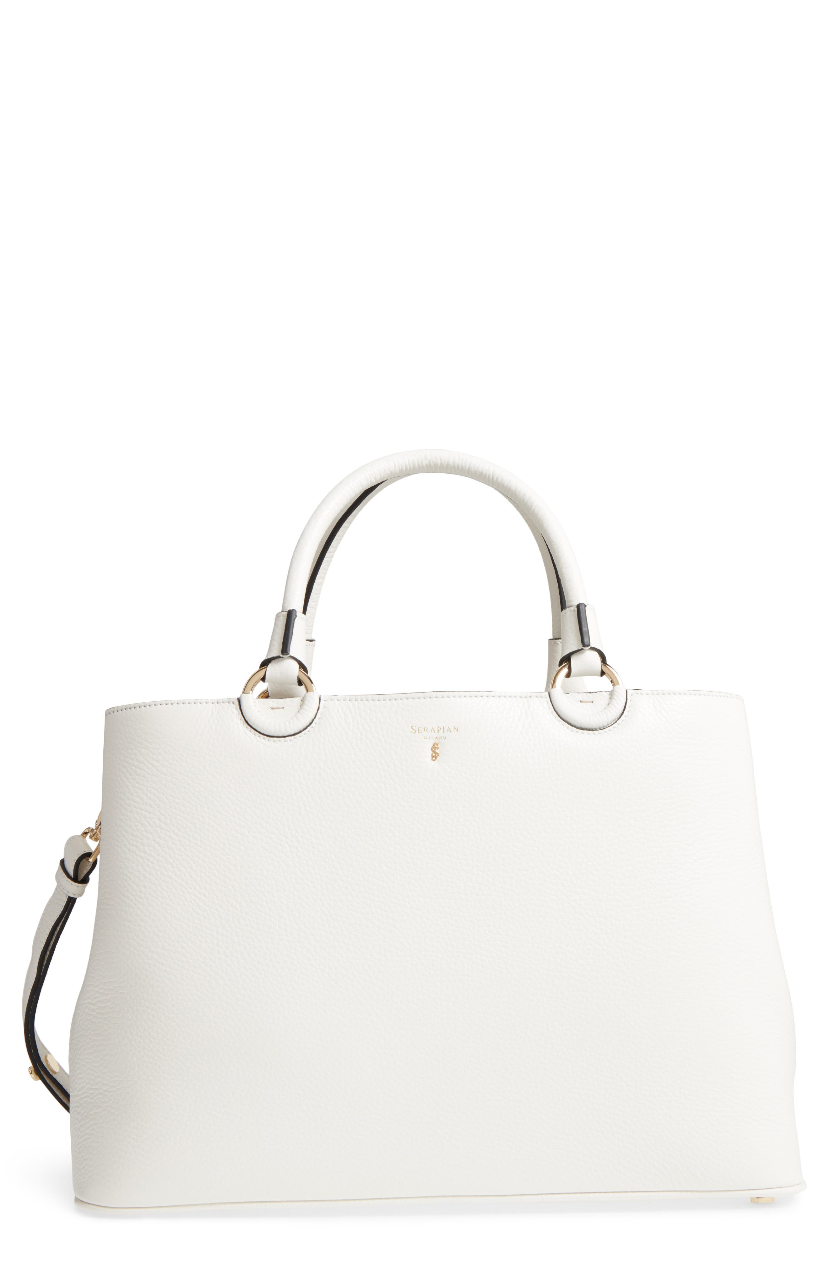 Veronica Cachemire Leather Tote,                         Main,                         color, New Milk