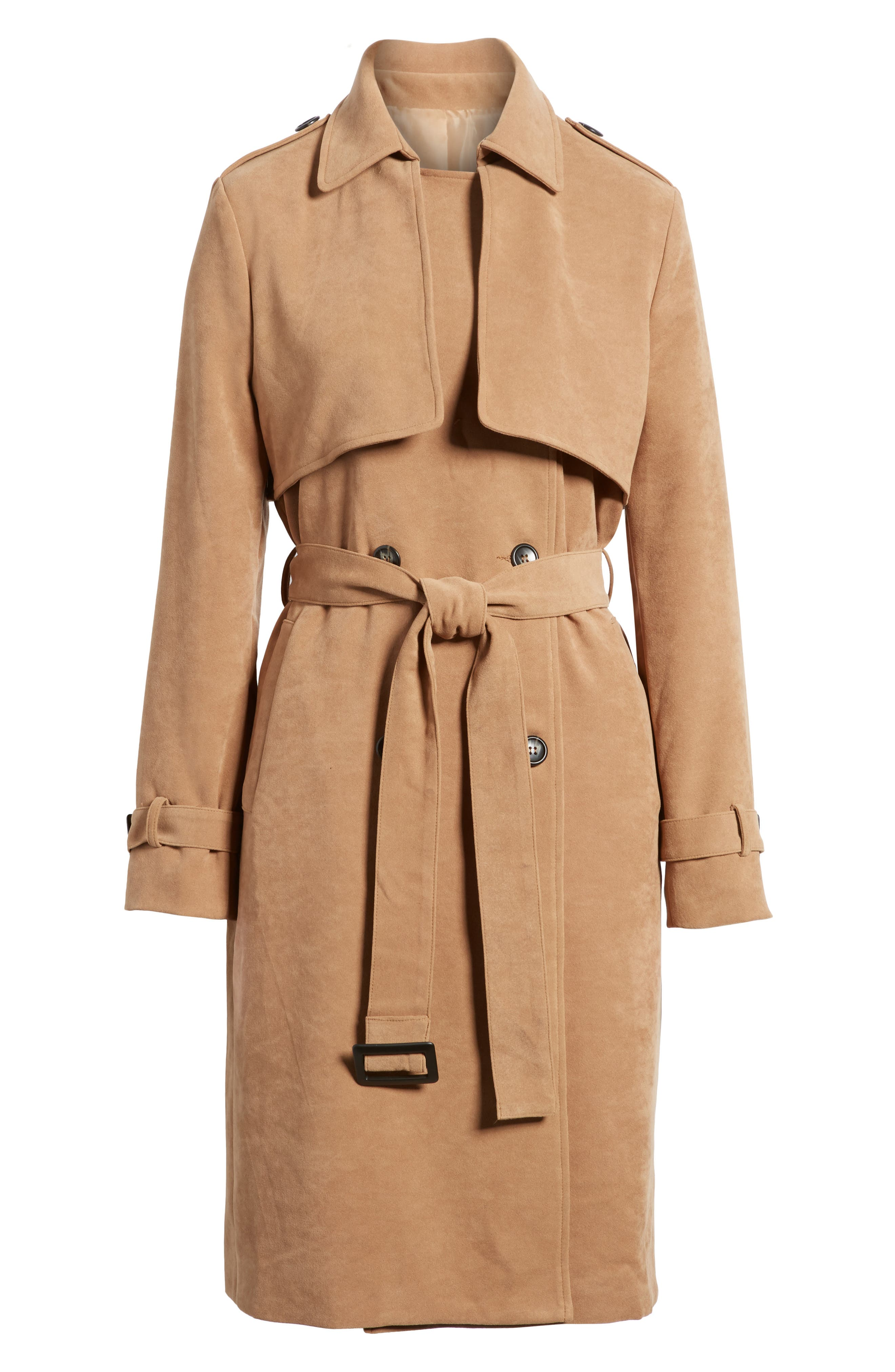 Double-Breasted Trench Coat,                             Alternate thumbnail 6, color,                             Taupe