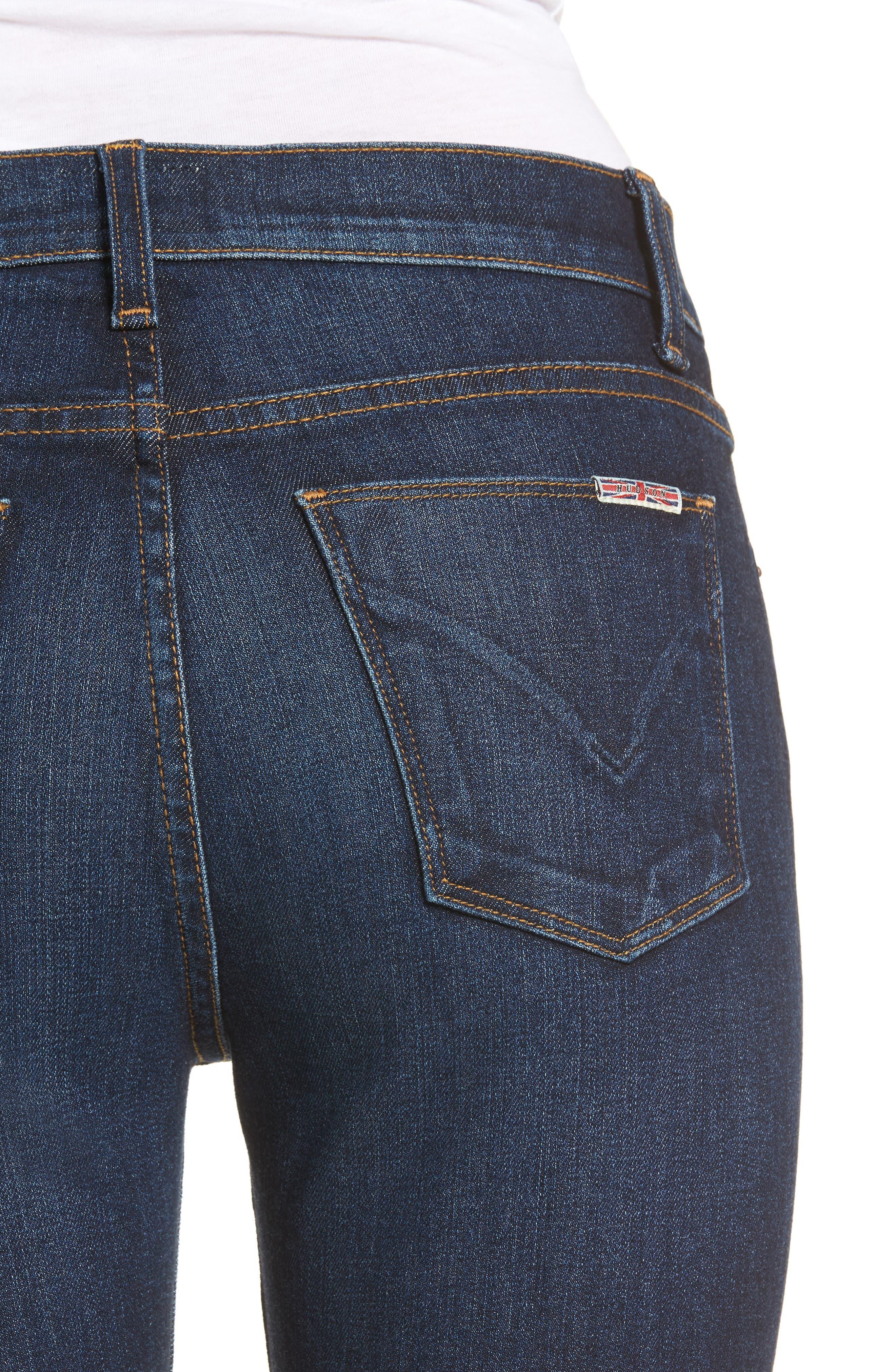 Barbara High Waist Ankle Super Skinny Jeans,                             Alternate thumbnail 4, color,                             Daze