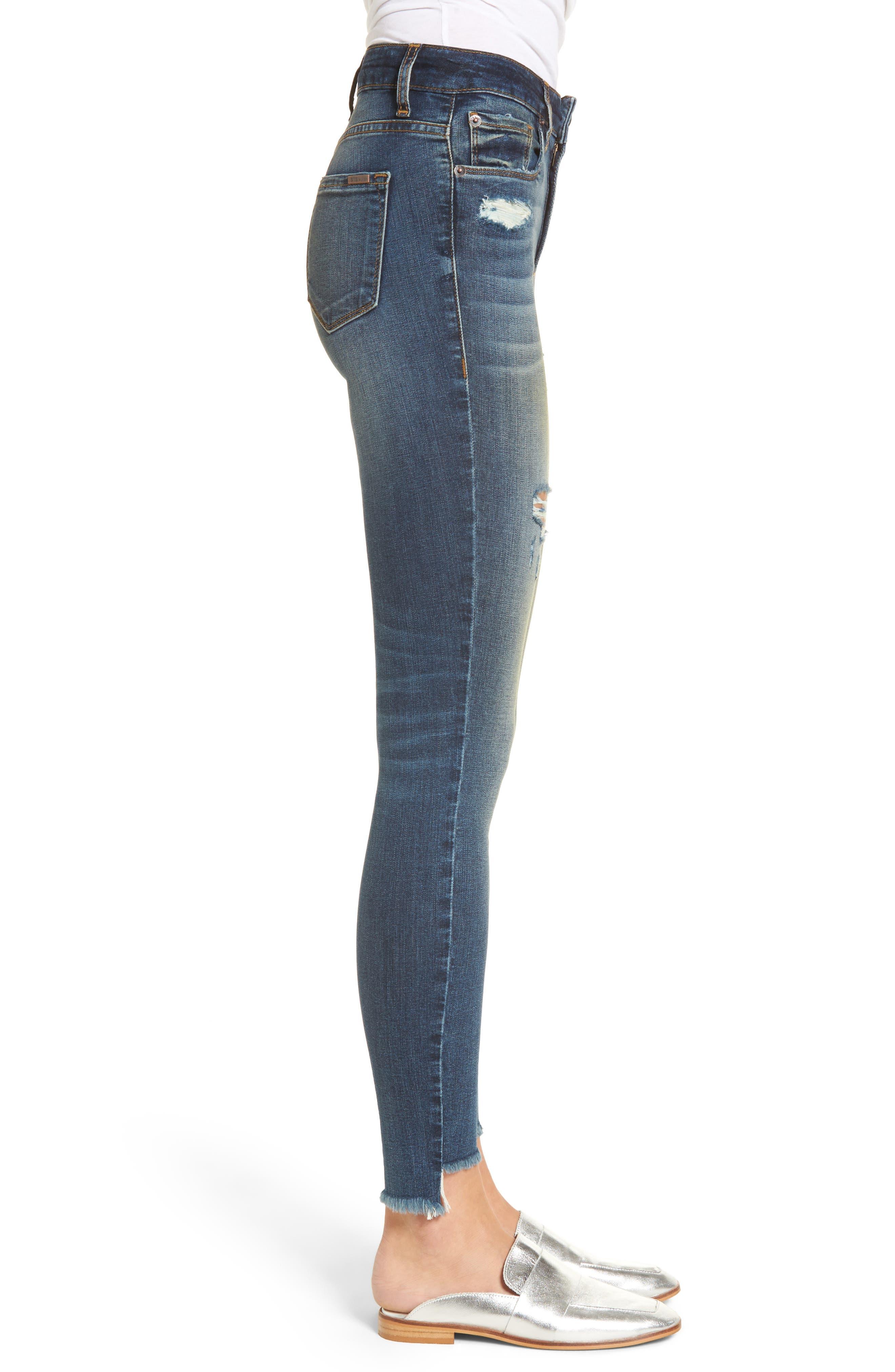 Elli Distressed Step Hem Skinny Jeans,                             Alternate thumbnail 3, color,                             Yukon