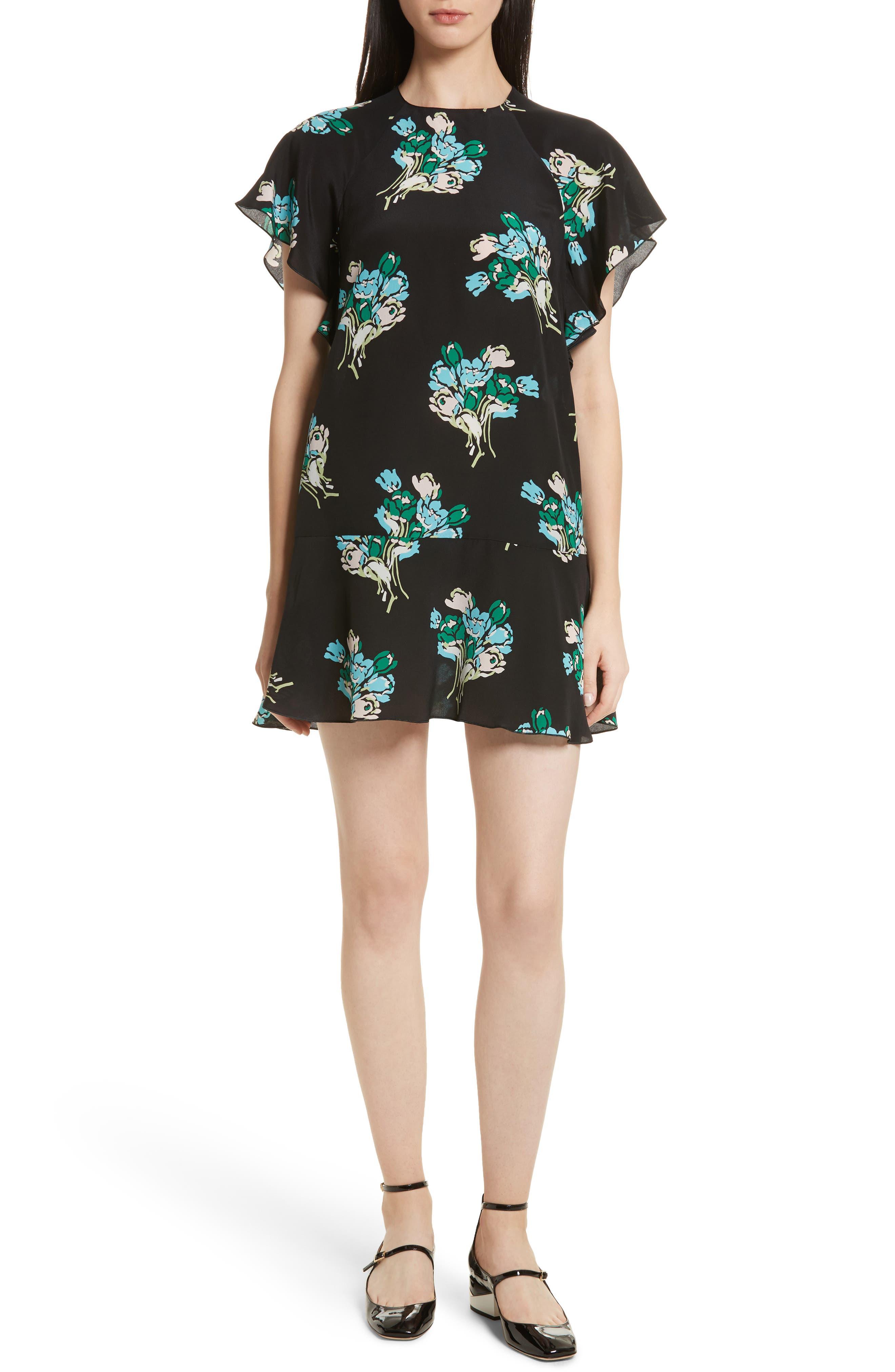 Floral Silk Crepe de Chine Dress,                         Main,                         color, Black