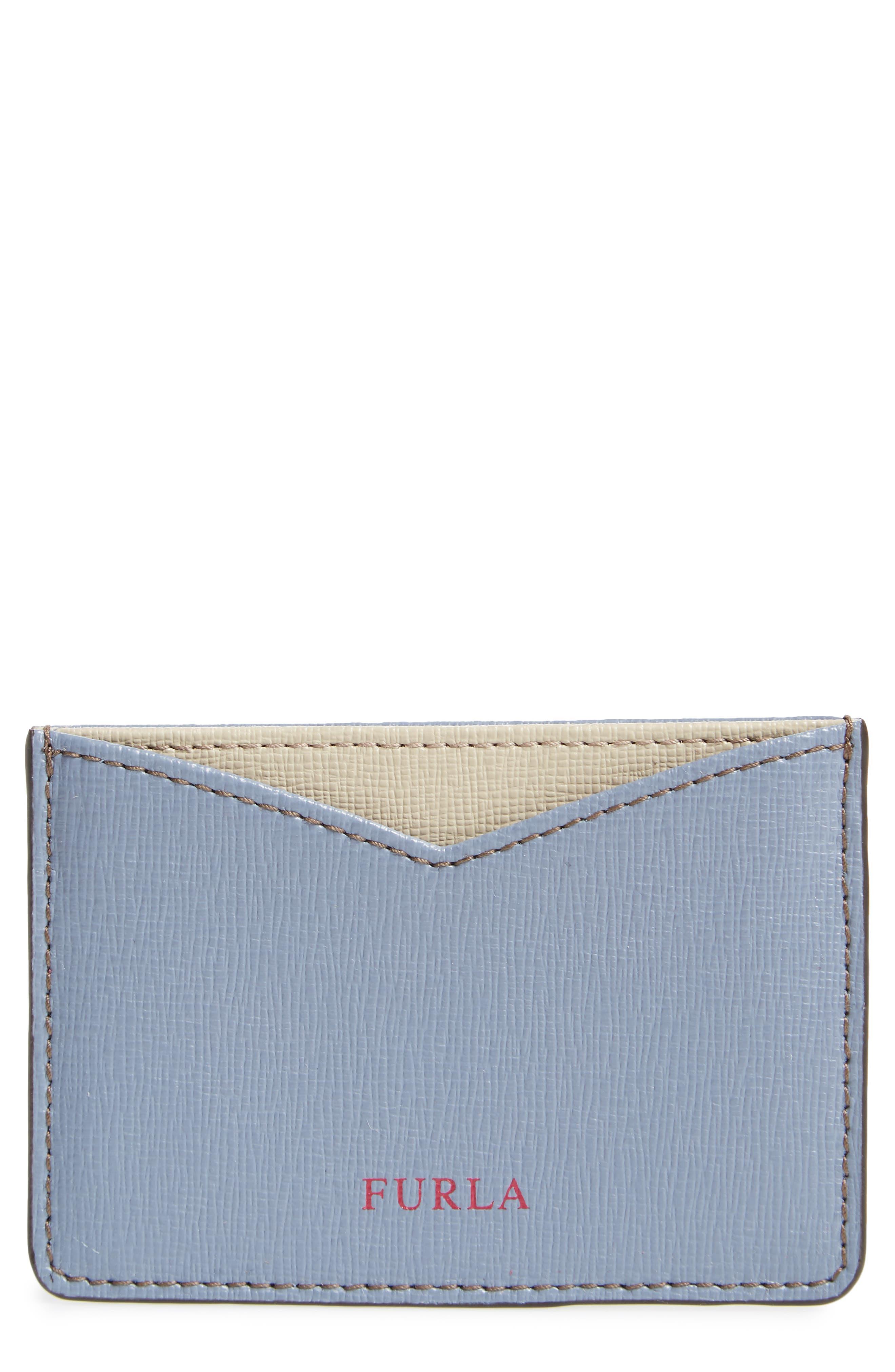 Gioia Saffiano Leather Card Case,                         Main,                         color, Tempesta+Creta