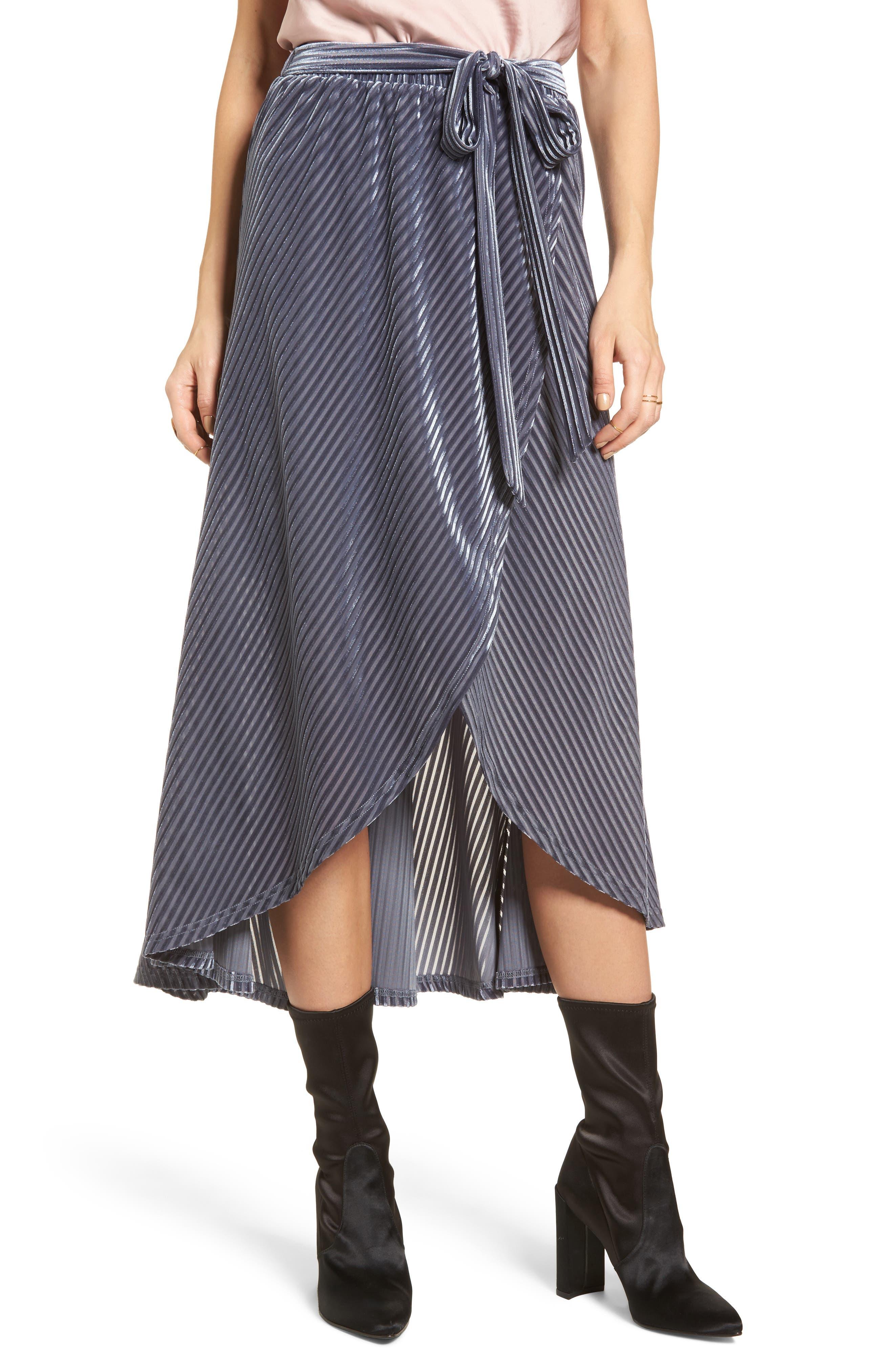 Velvet Wrap Skirt,                         Main,                         color, Slate