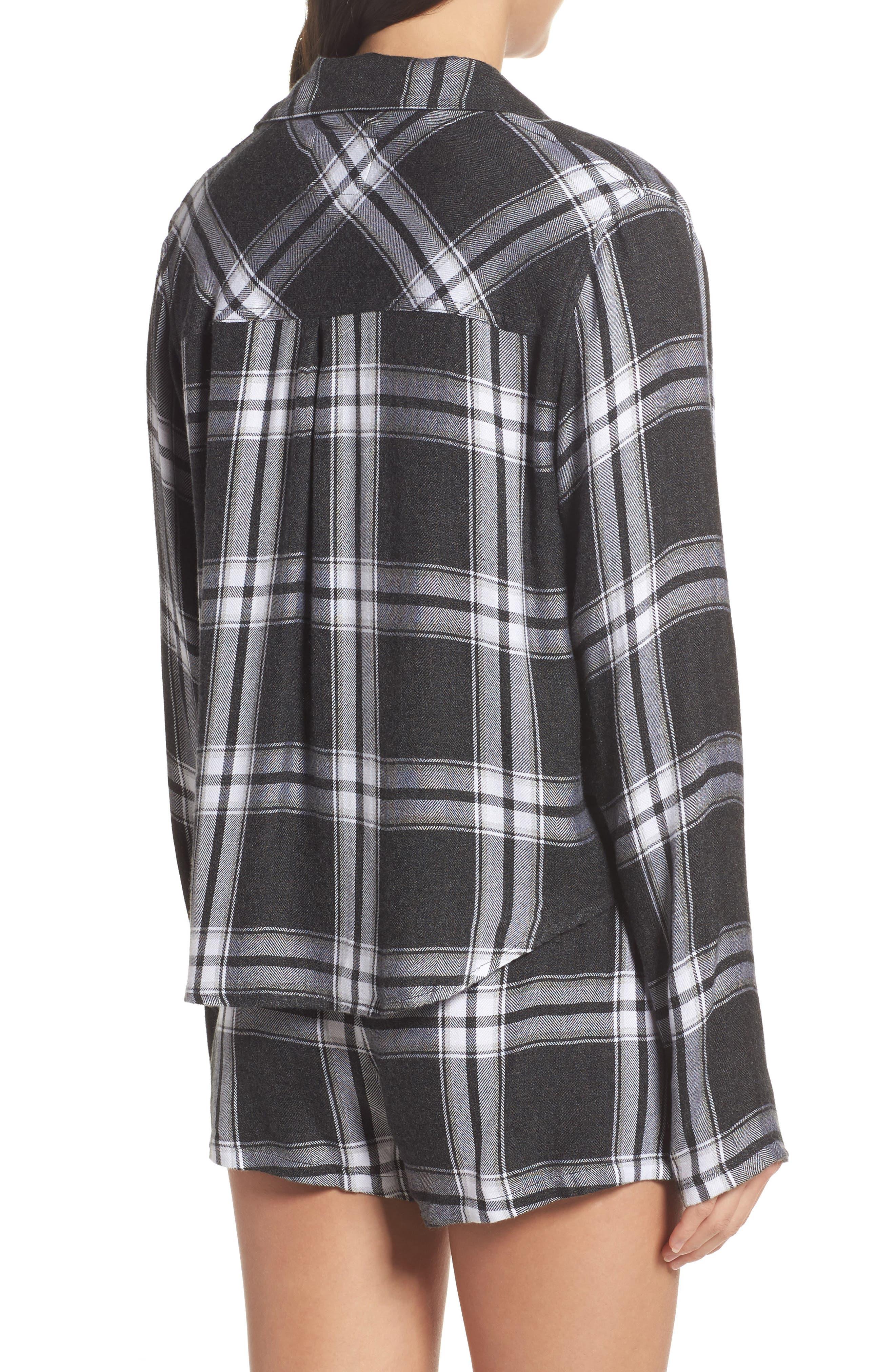 Plaid Short Pajamas,                             Alternate thumbnail 2, color,                             Ash/ Bone