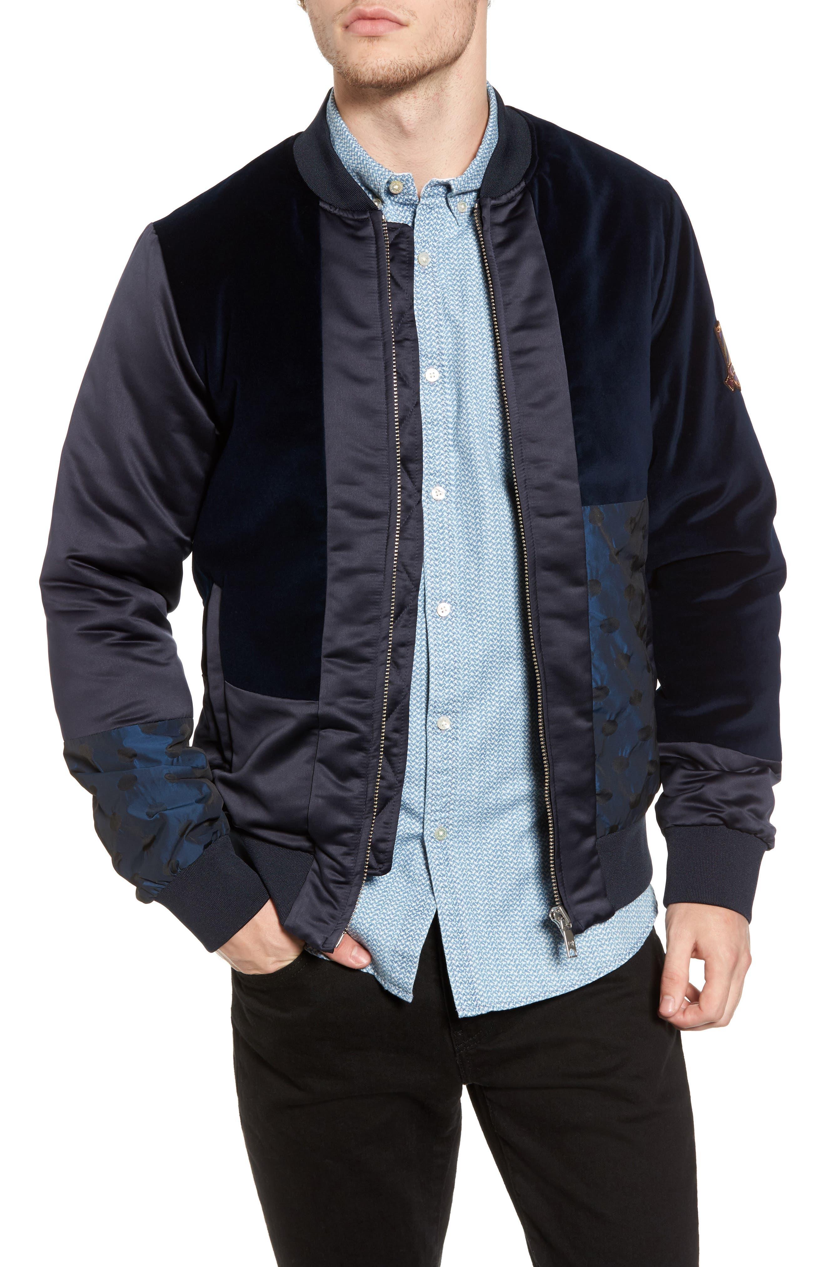 Velvet & Satin Track Jacket,                         Main,                         color, Blue