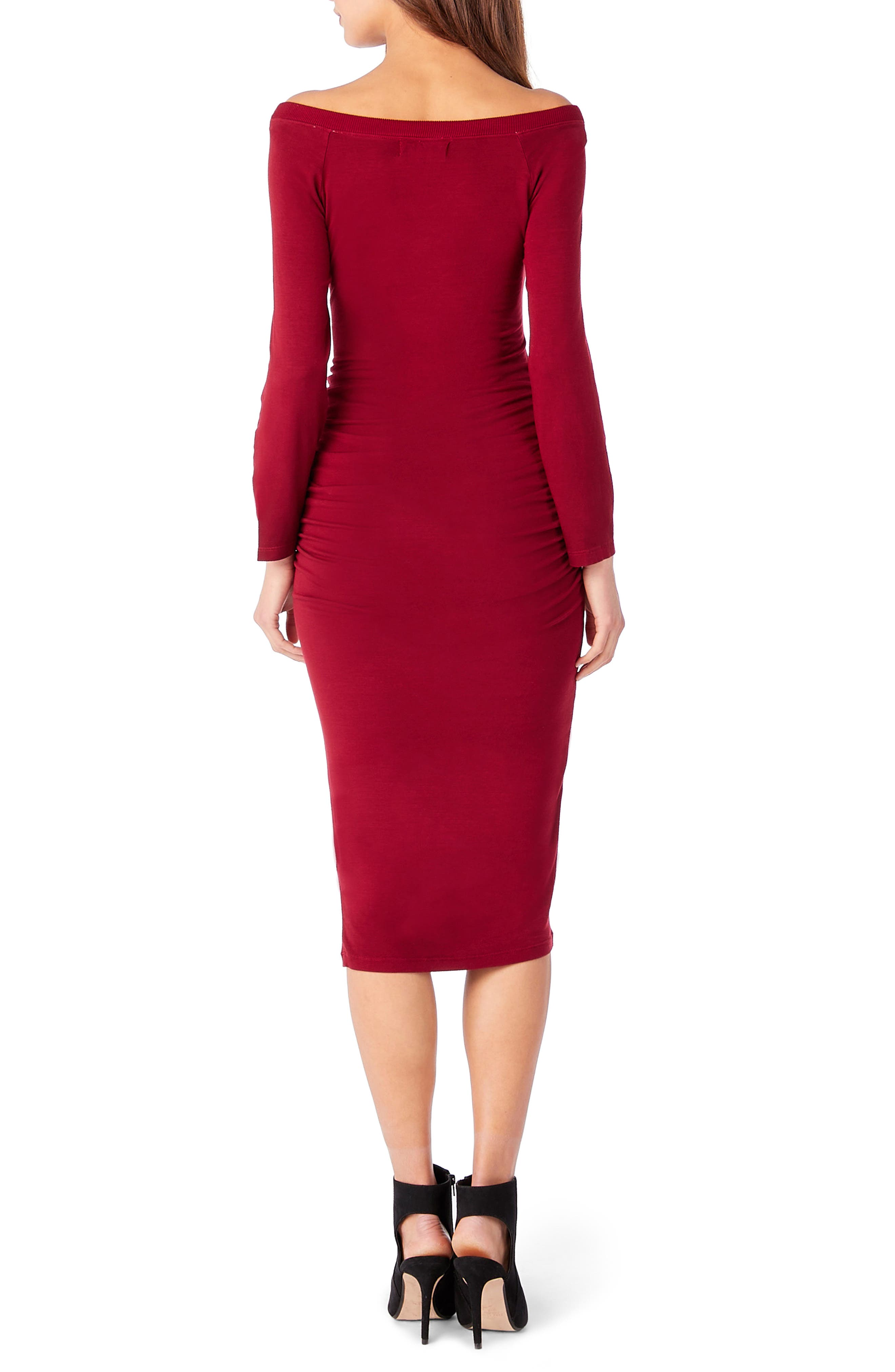 Off the Shoulder Body-Con Dress,                             Alternate thumbnail 2, color,                             Ruby