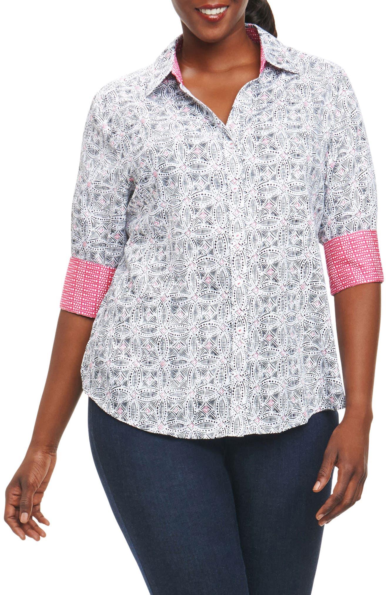 Main Image - Foxcroft Mary Circle Tile Print Shirt (Plus Size)