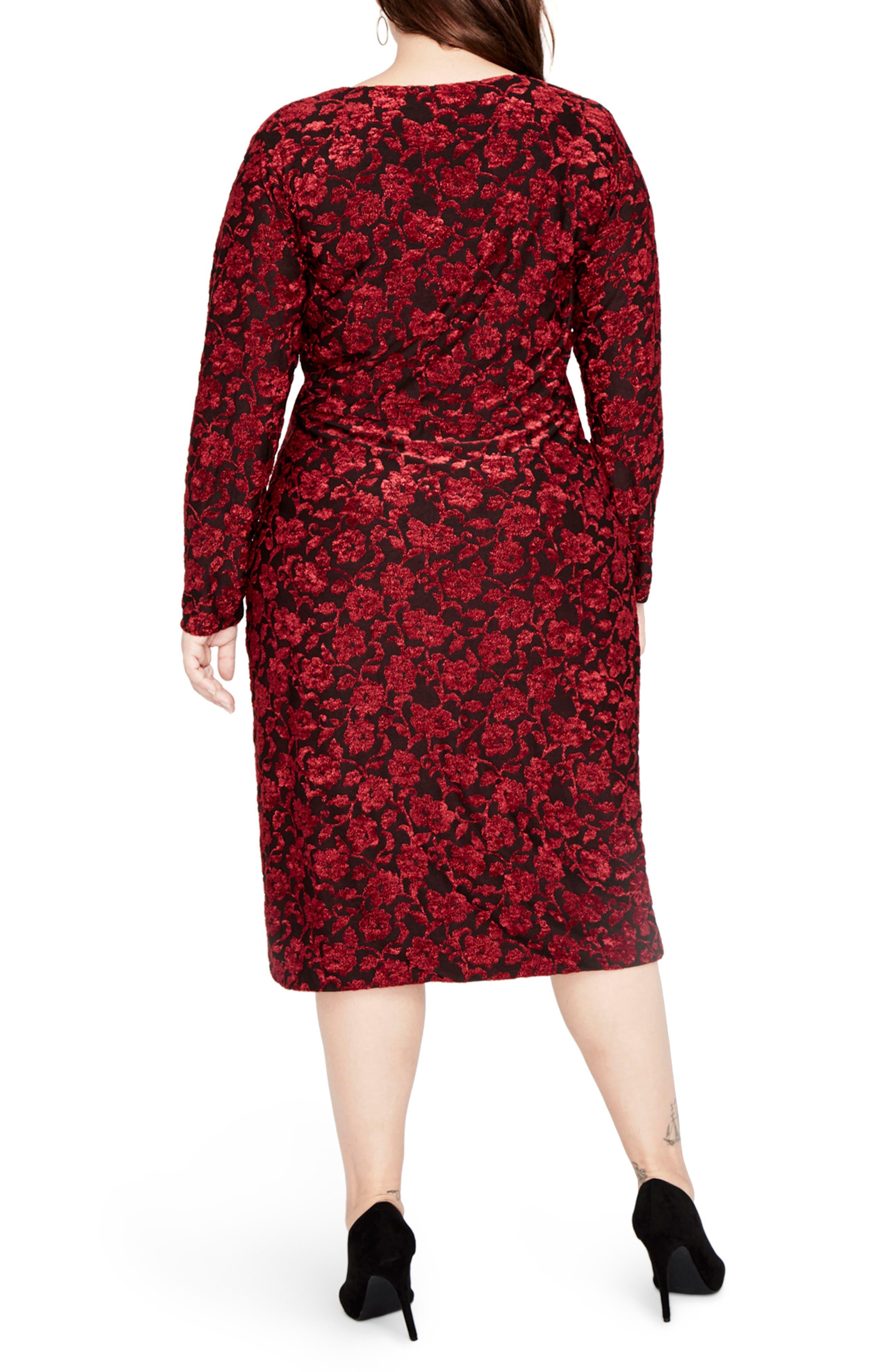 Velvet Floral Zip Front Dress,                             Alternate thumbnail 2, color,                             Bordeaux Combo