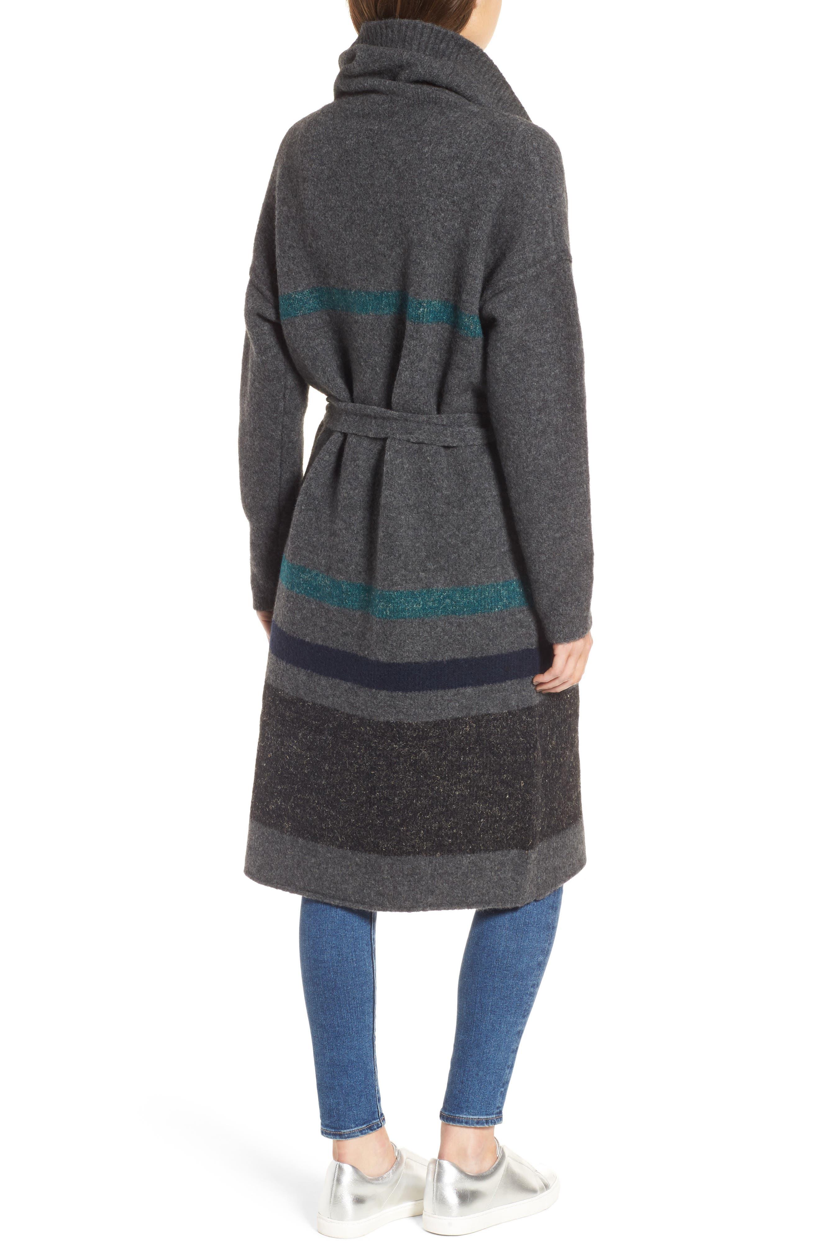 Belted Blanket Stripe Coat,                             Alternate thumbnail 2, color,                             Ash/ Val/ Imp/ Ant