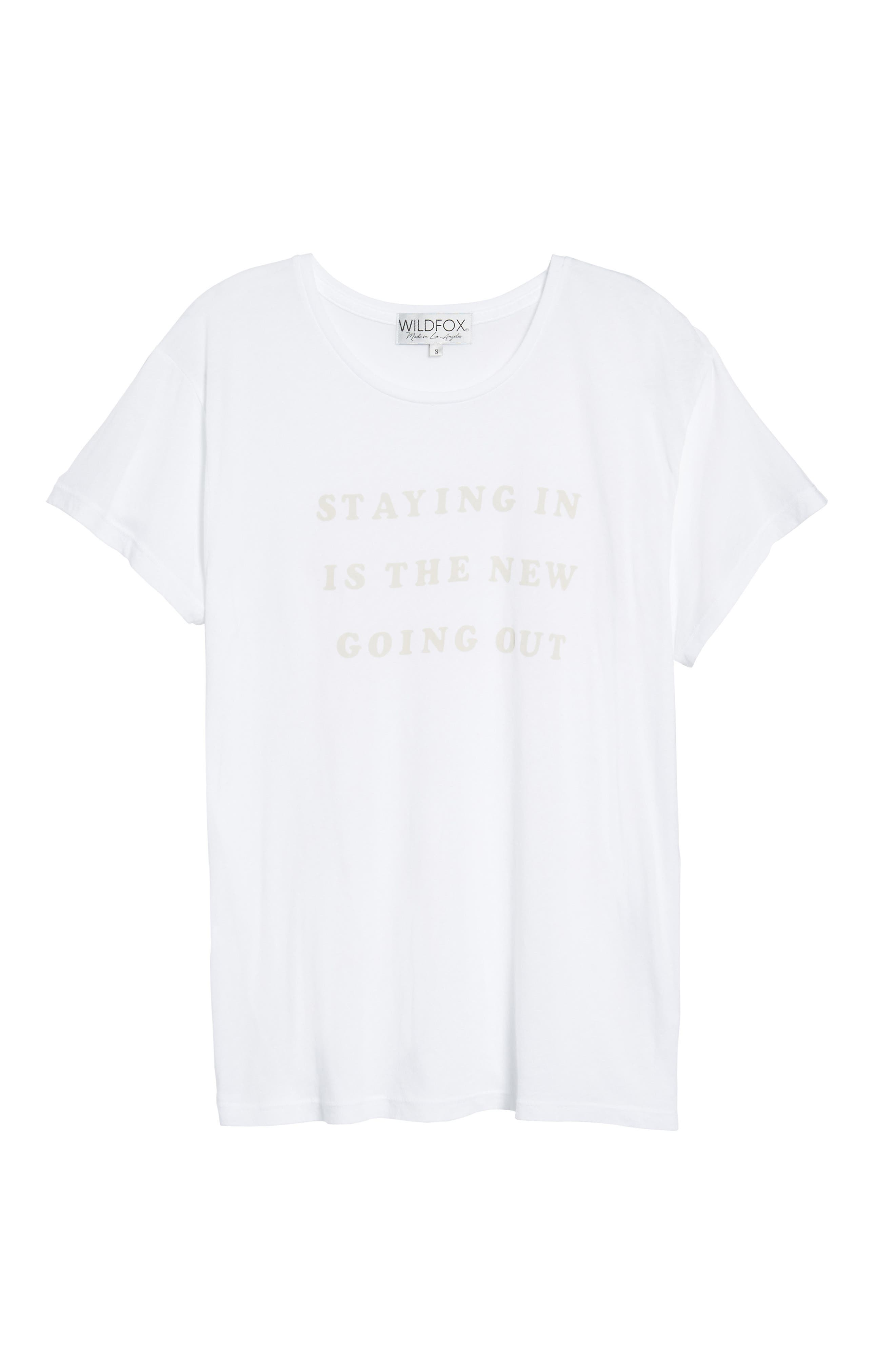 Staying in Is the New Going Out Tee,                             Alternate thumbnail 6, color,                             Clean White