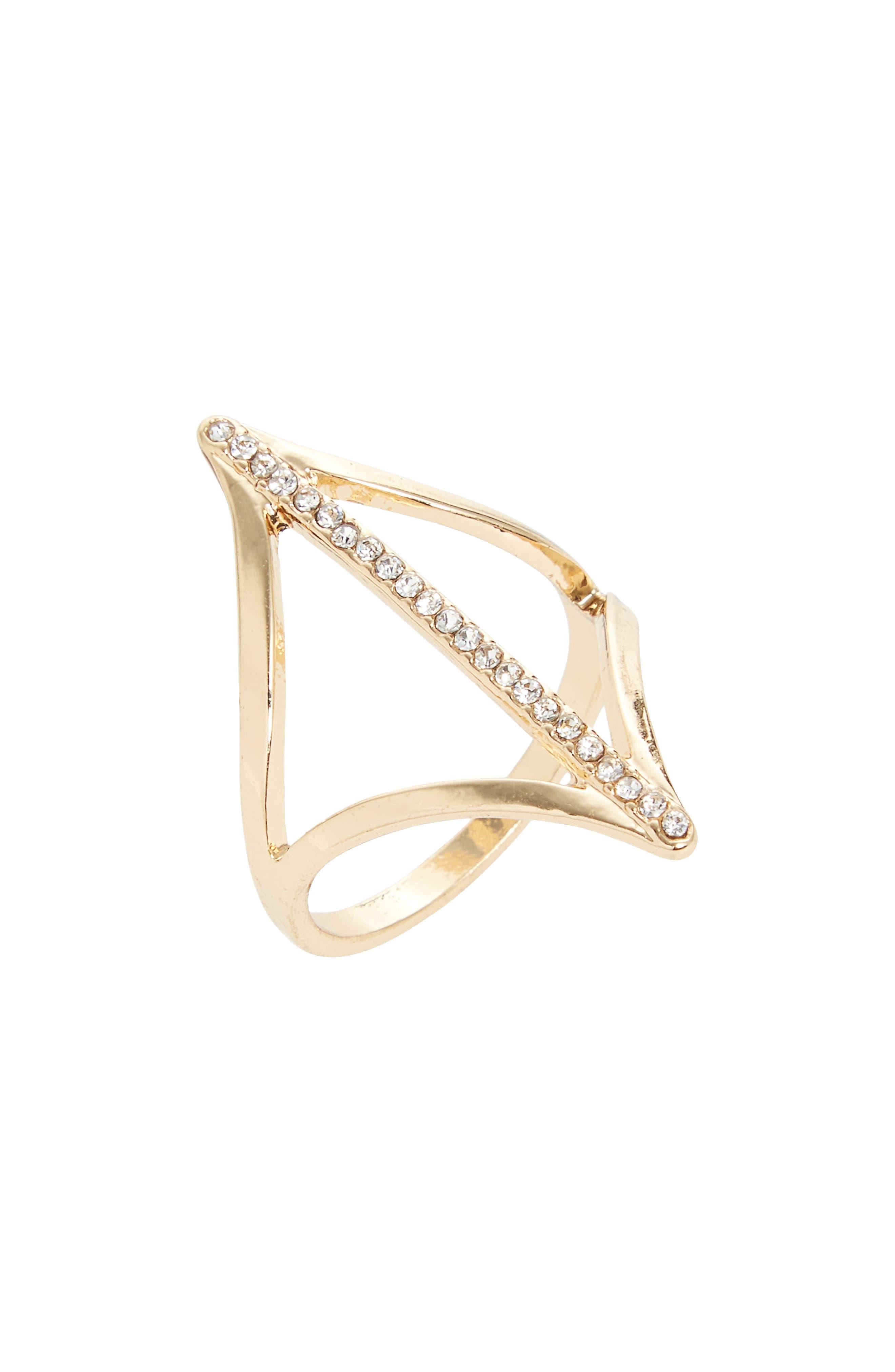 Pavé Cutout Ring,                         Main,                         color, Crystal