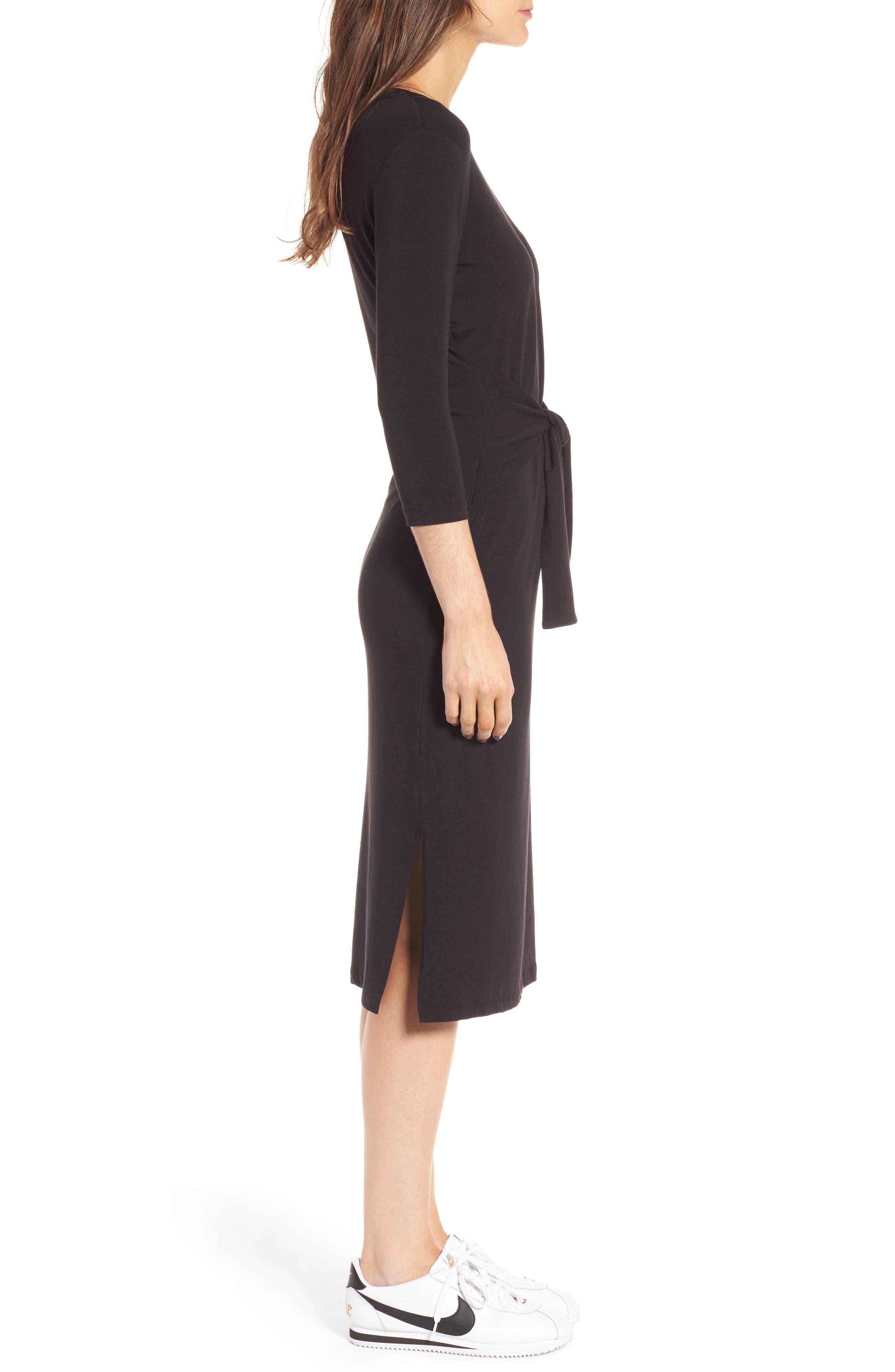 Colombe Knit Sheath Dress,                             Alternate thumbnail 3, color,                             Black
