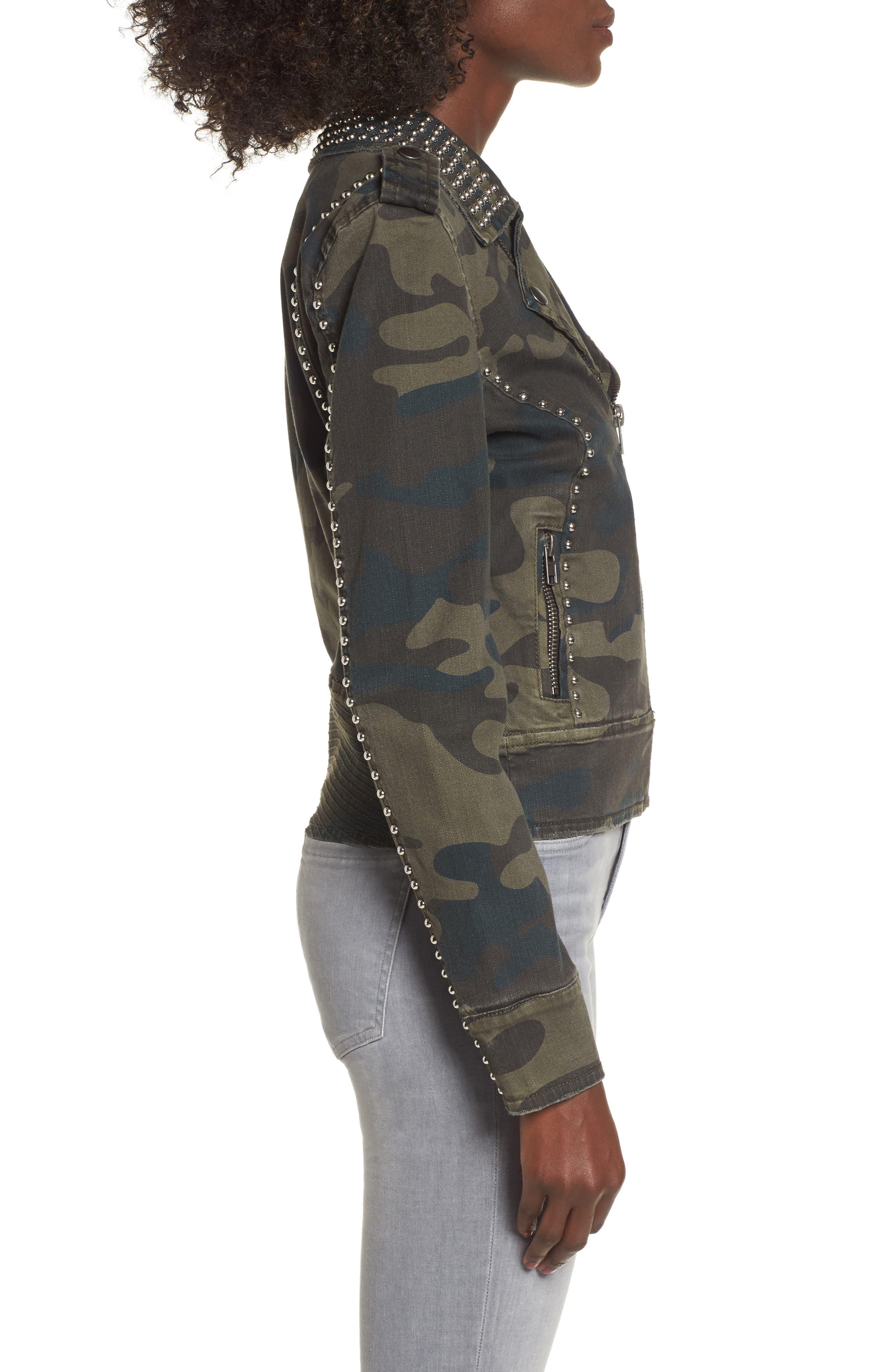 Studded Leopard Print Moto Jacket,                             Alternate thumbnail 3, color,                             Camo