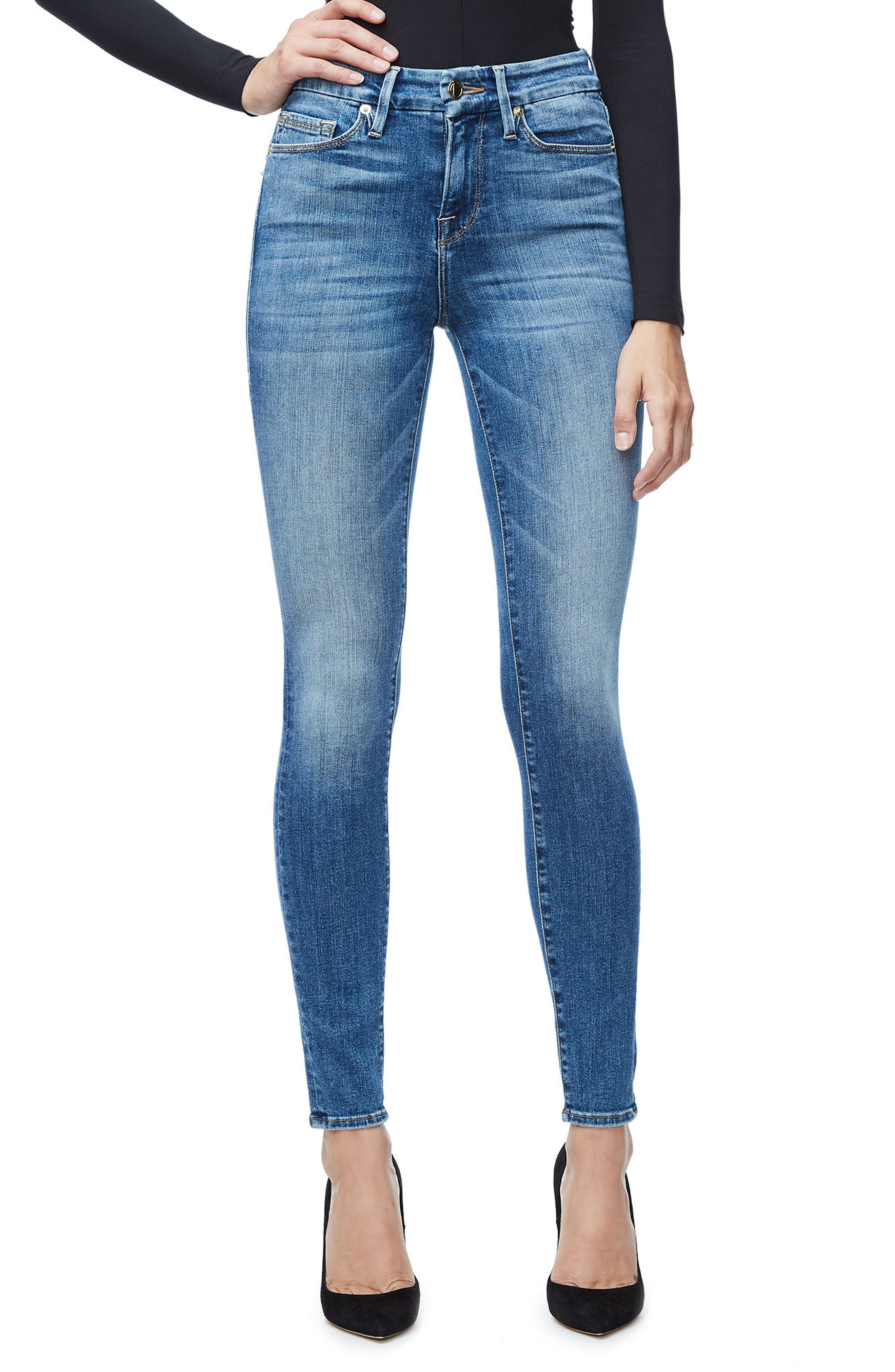 Alternate Image 1 Selected - Good American Good Legs High Waist Skinny Jeans (Blue 107)  (Regular & Plus Size)