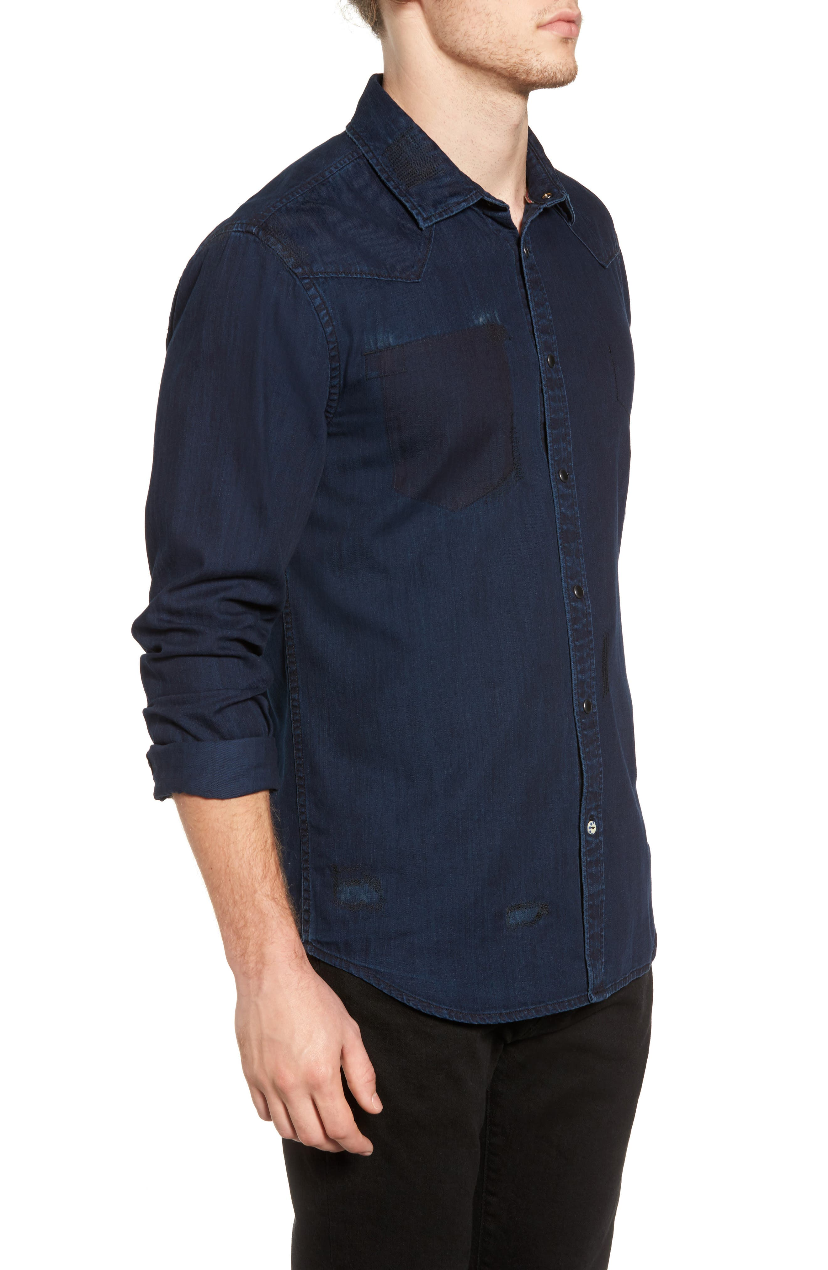 Pocketless Western Denim Shirt,                             Alternate thumbnail 3, color,                             Midnight