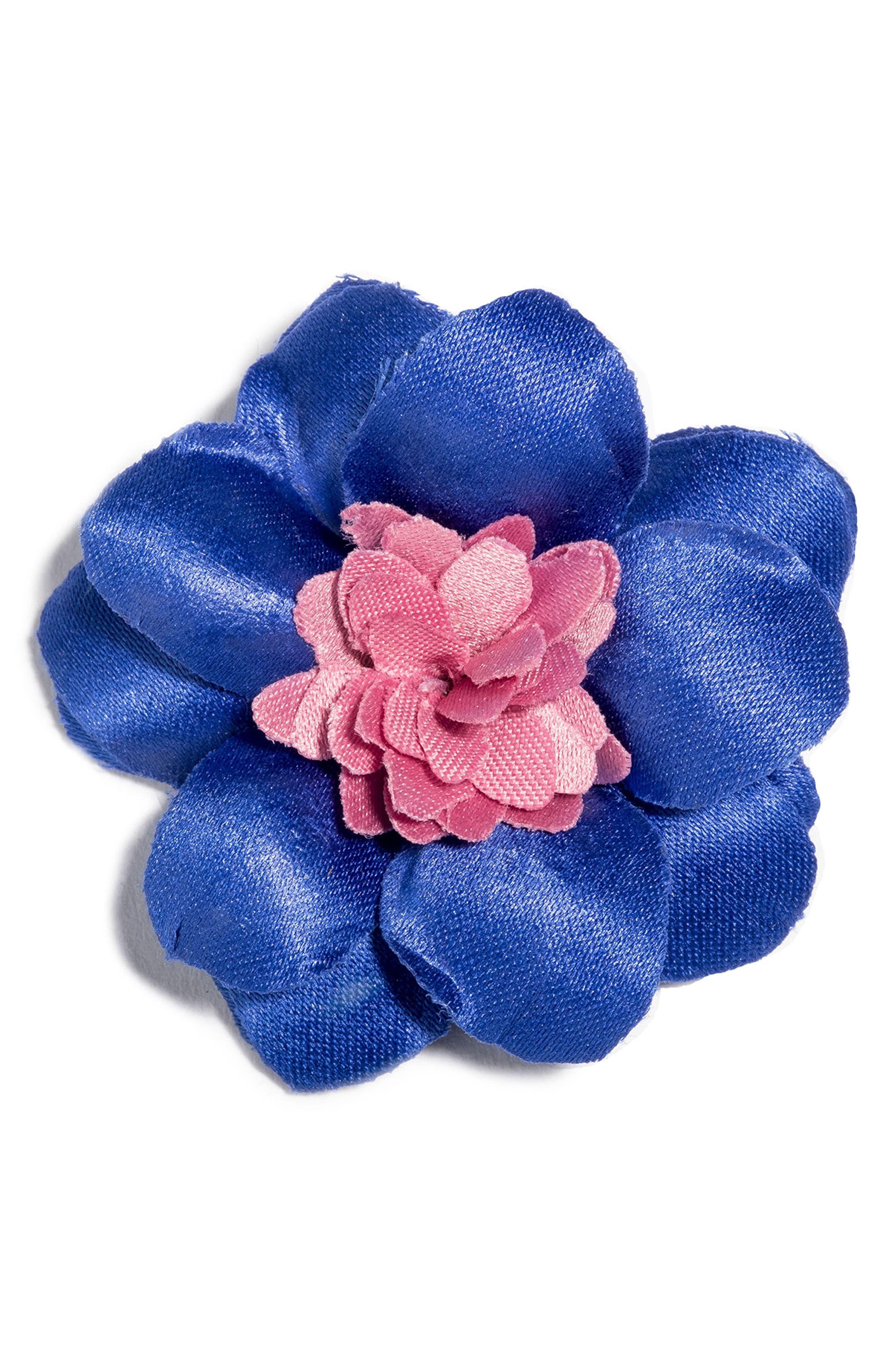 Henry Satin Lapel Flower,                             Main thumbnail 1, color,                             Blue