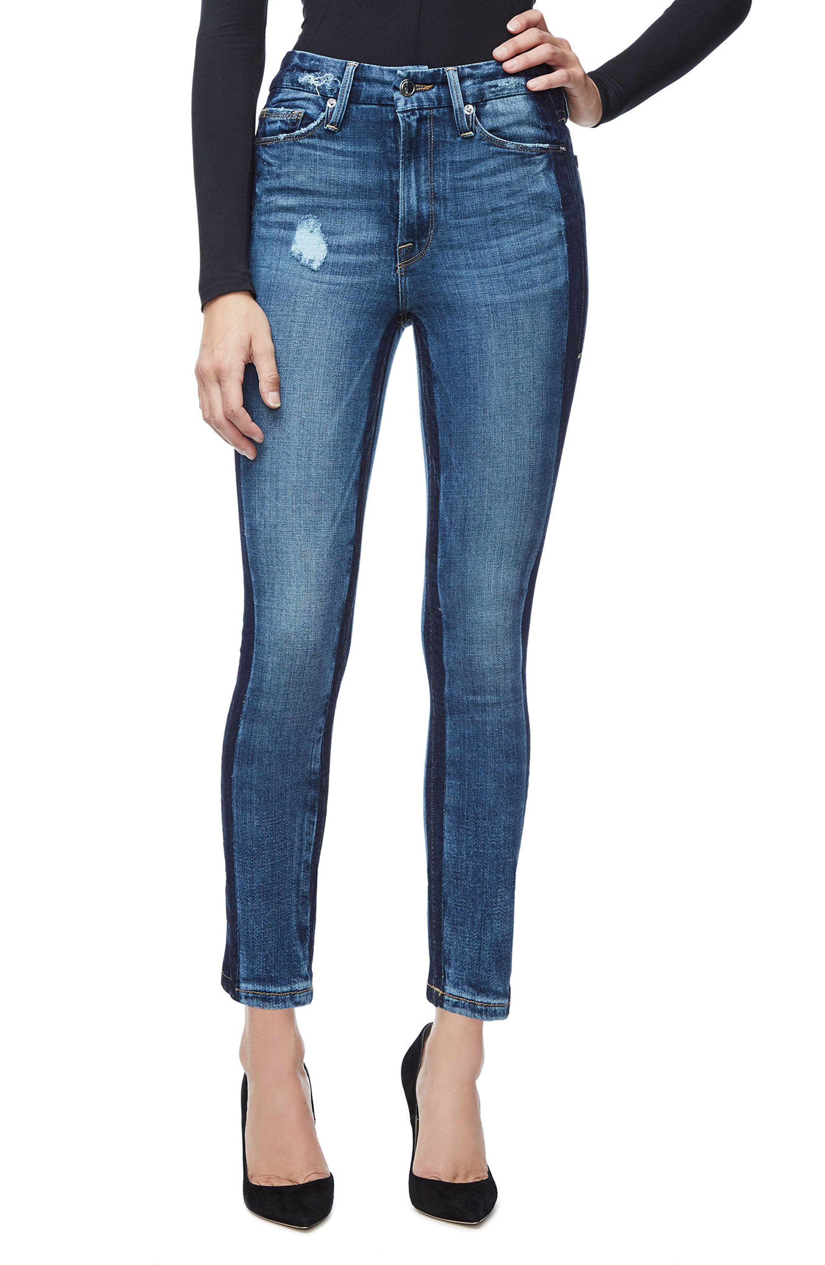 Good American Good Waist Ankle Skinny Jeans (Blue 108) (Regular & Plus Size