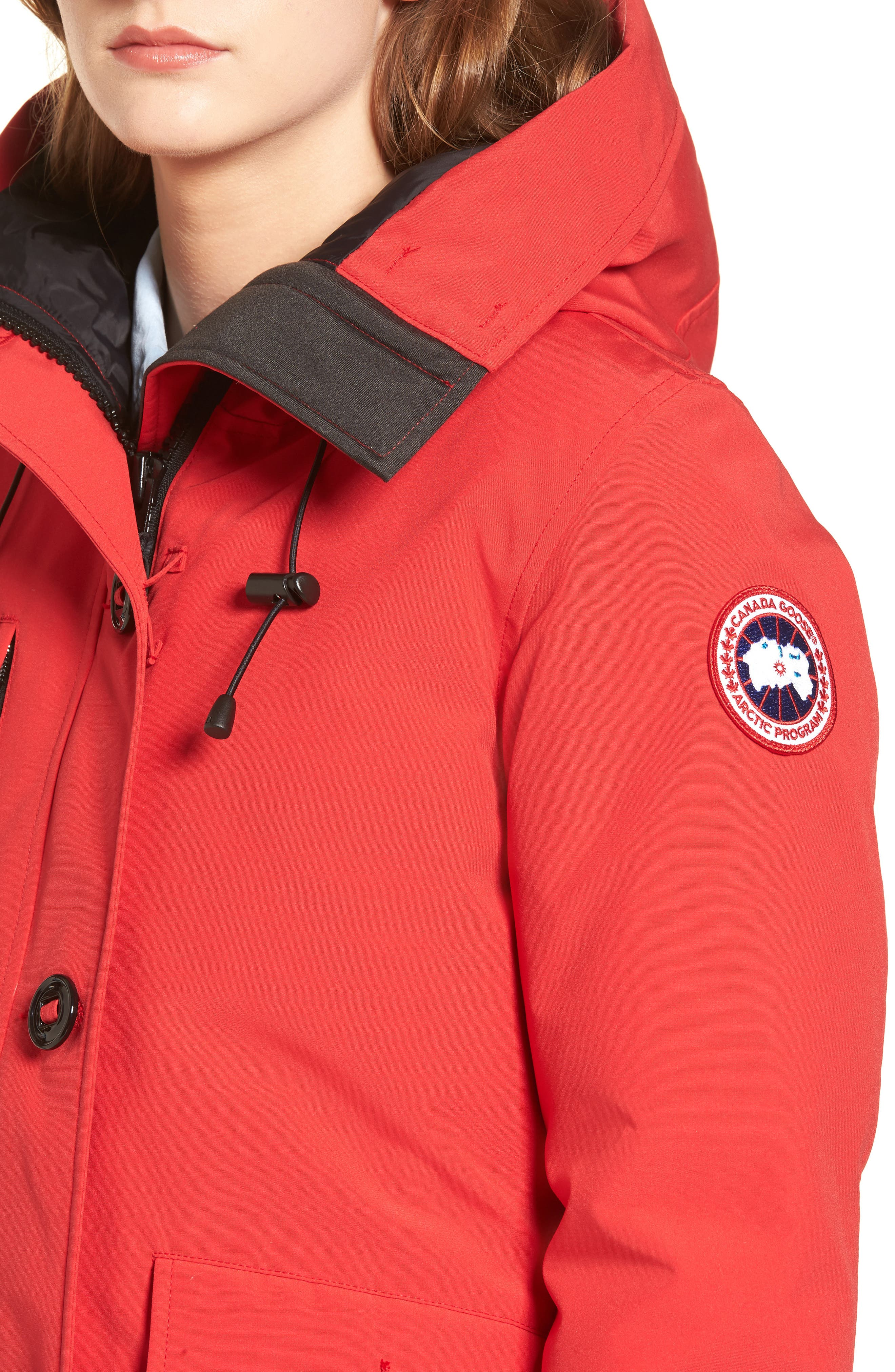 'Rideau' Slim Fit Down Parka,                             Alternate thumbnail 4, color,                             Red