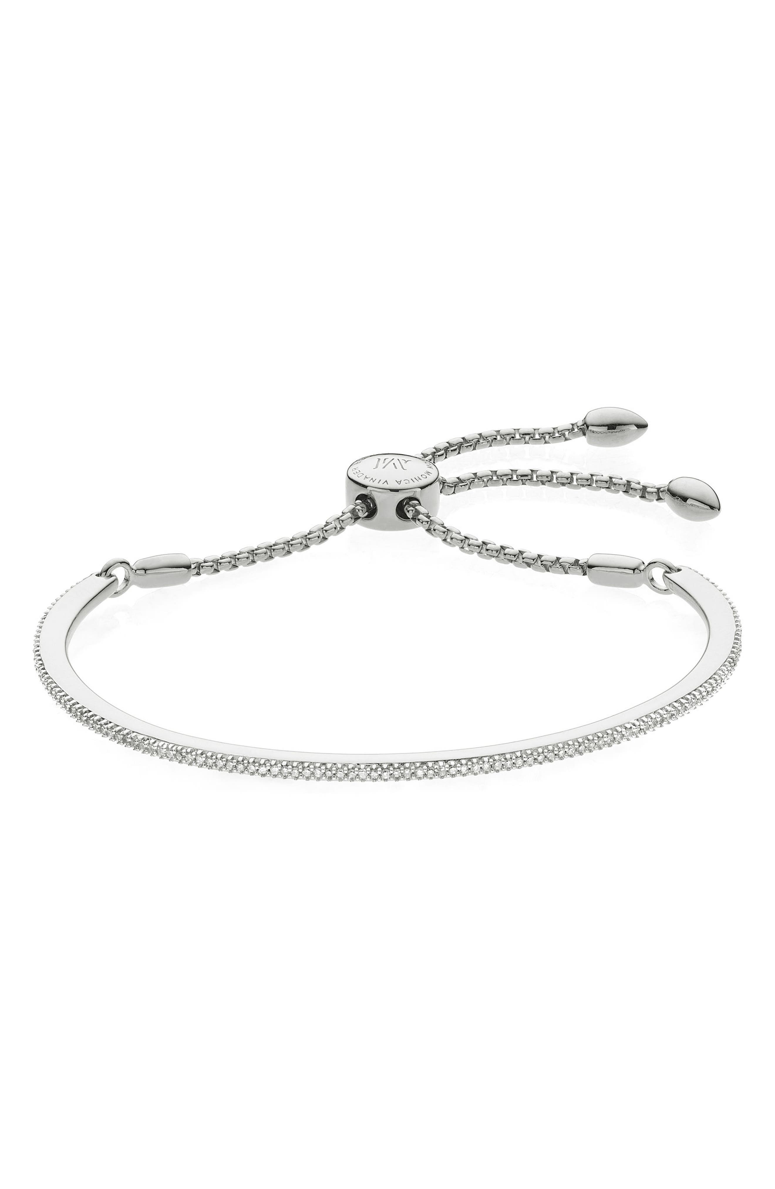 Main Image - Monica Vinader Fiji Skinny Vermeil Diamond Bar Bracelet