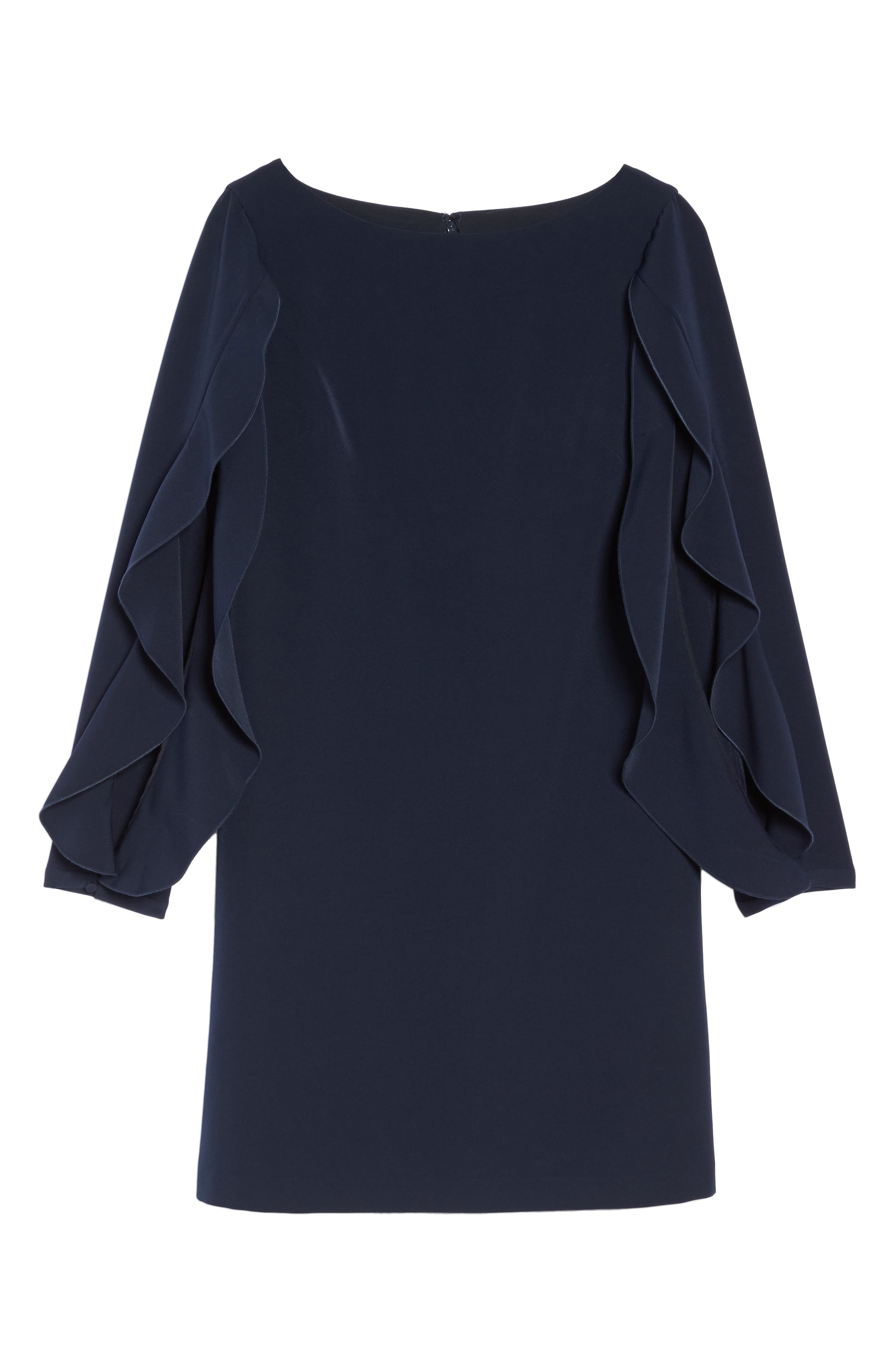 Ruffle Sleeve Shift Dress,                             Alternate thumbnail 6, color,                             Navy