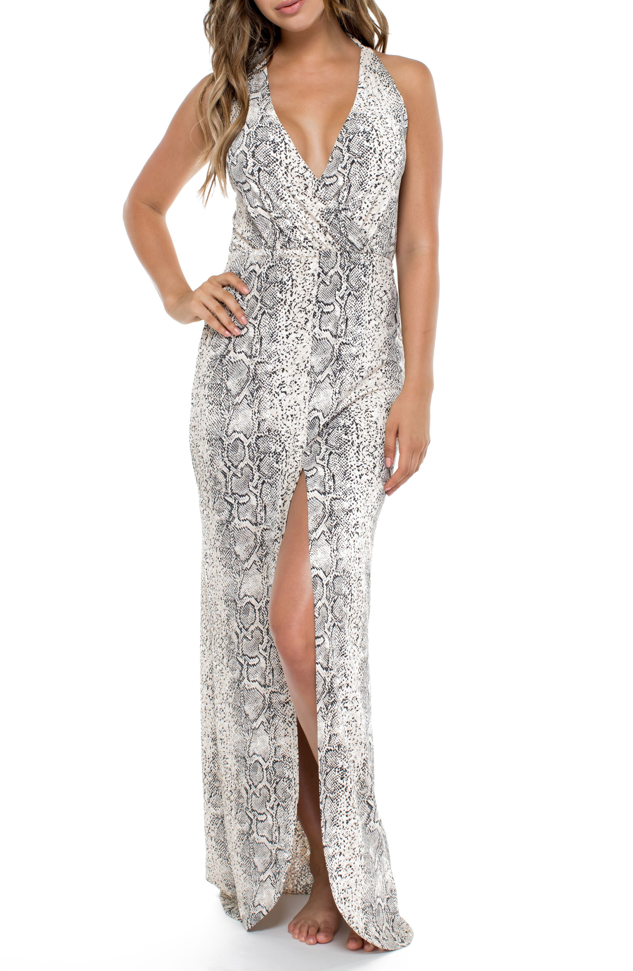 Snake Print Cover-Up Maxi Dress,                         Main,                         color, Beige Multi