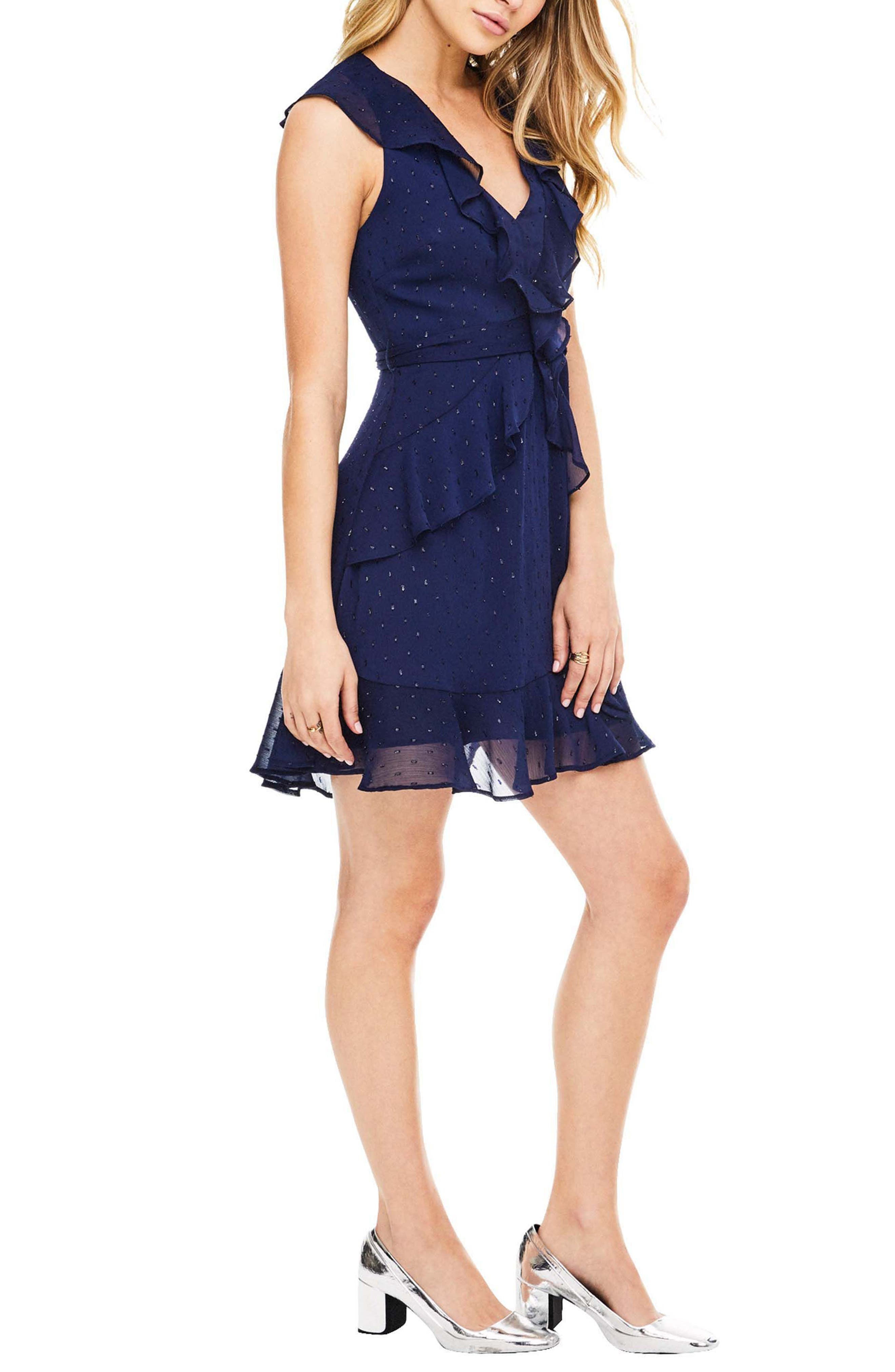 Brynn Fit & Flare Dress,                             Alternate thumbnail 4, color,                             Navy Sparkle