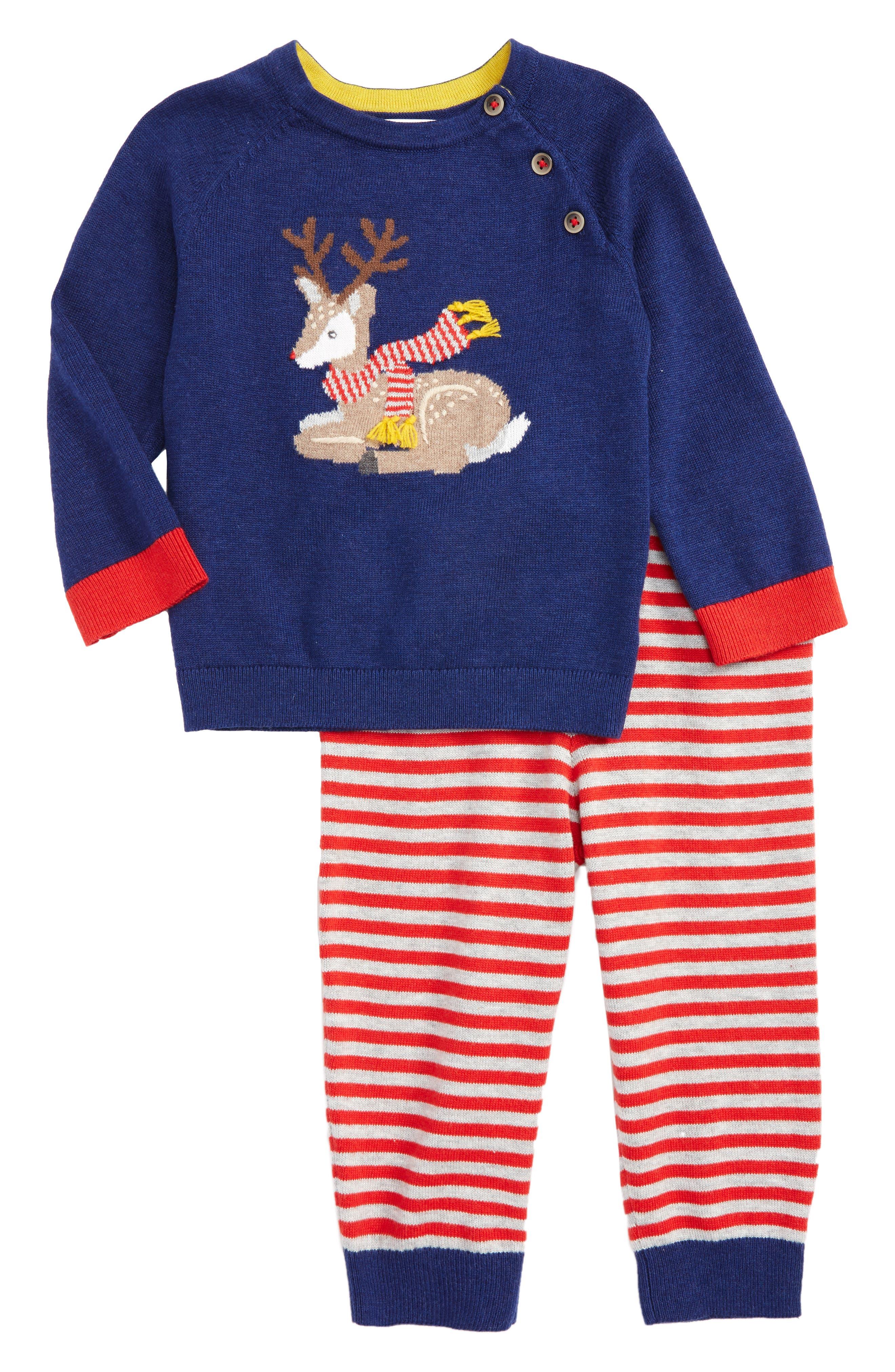 Main Image - Mini Boden Fun Knit Sweater & Pants Set (Baby Boys & Toddler Boys)