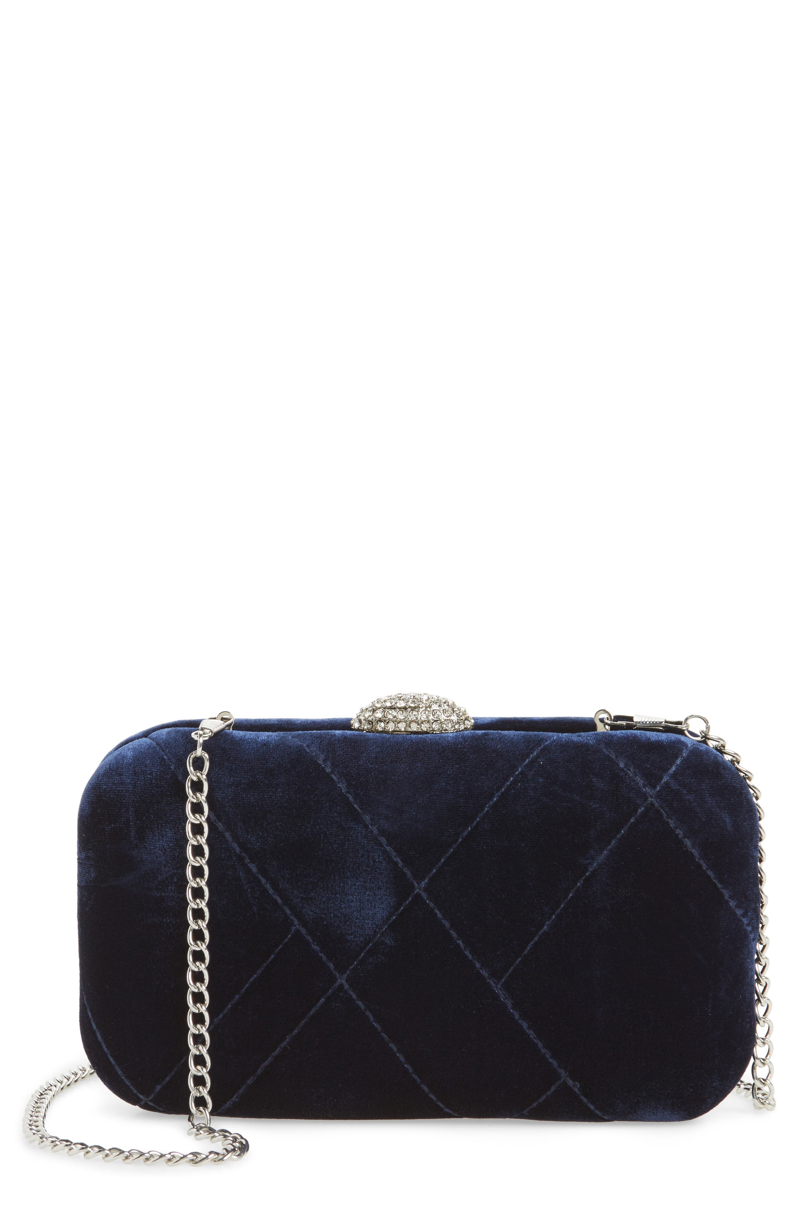 Barlow Quilted Velvet Minaudière,                         Main,                         color, Navy