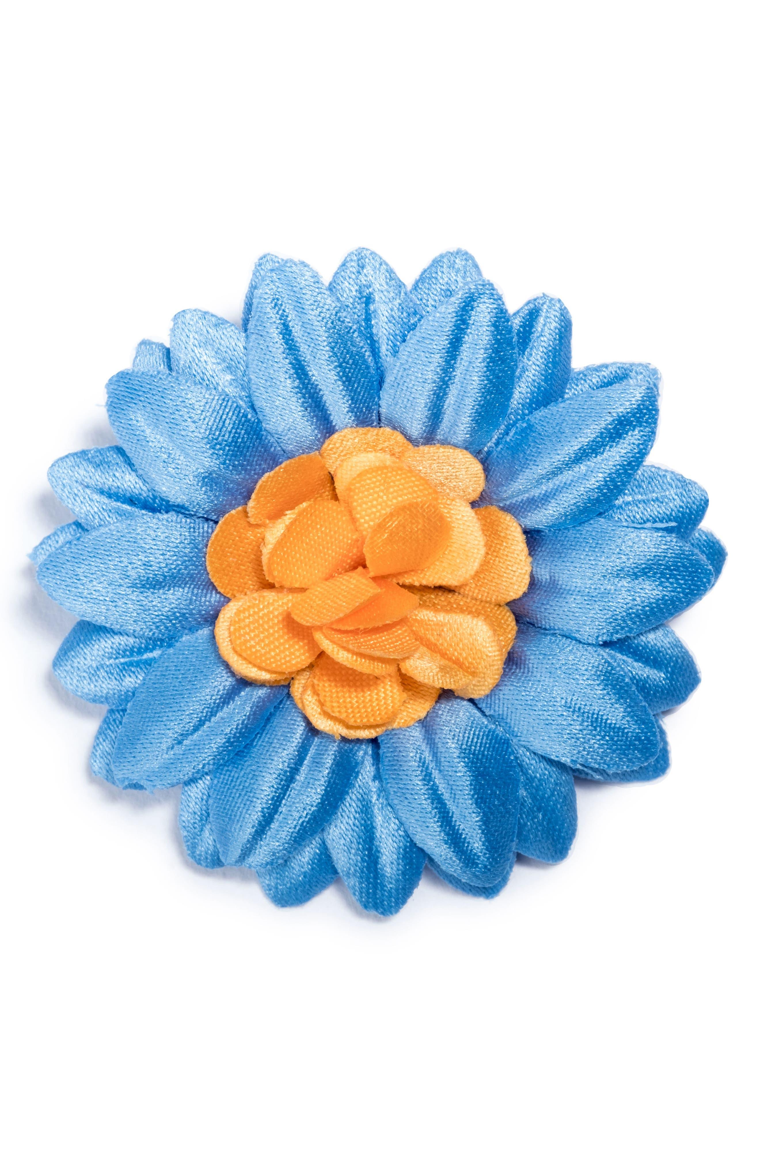 Large Lapel Flower,                         Main,                         color, Blue/ Gold